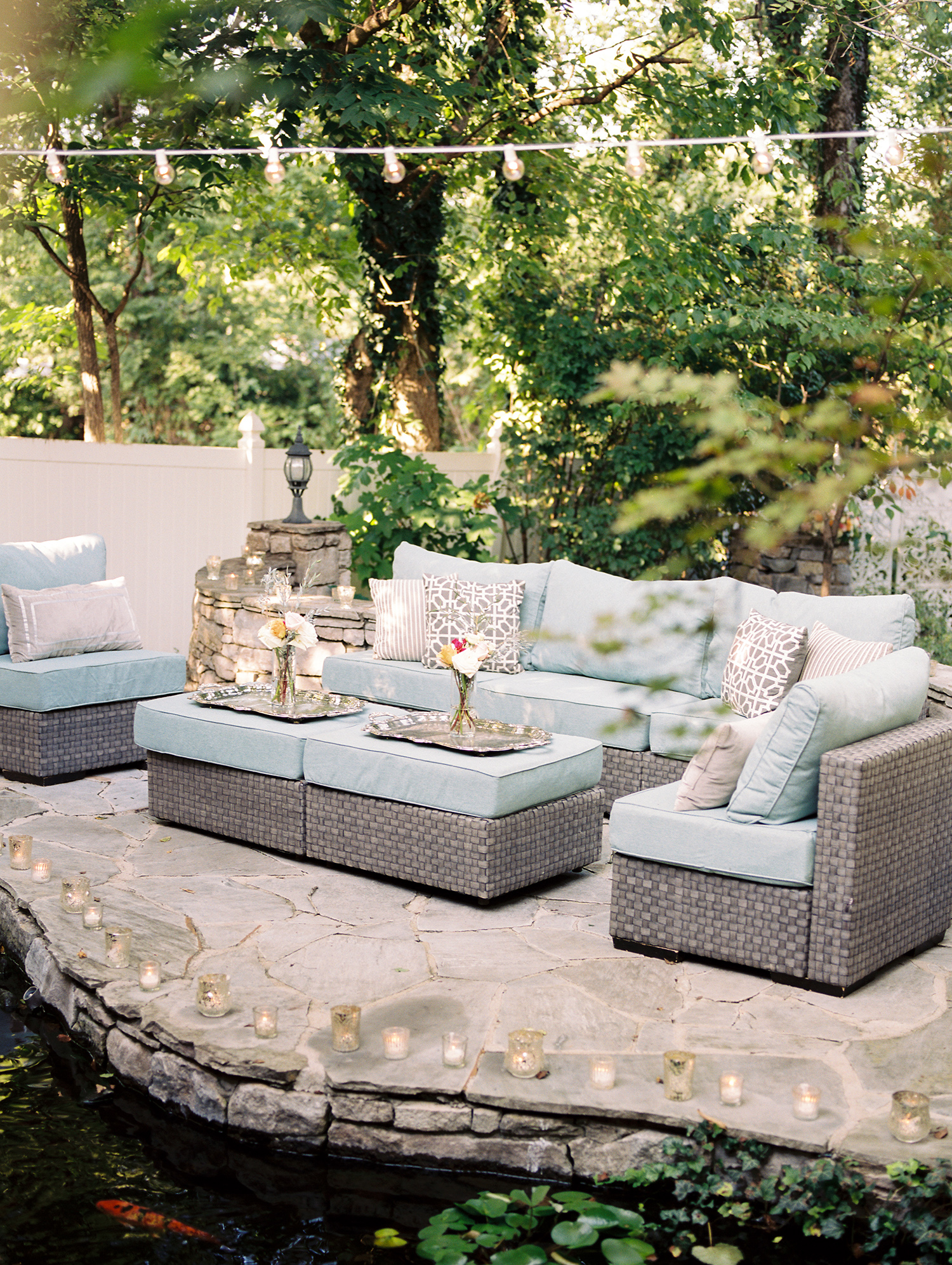 wedding lounge gray wicker seating set