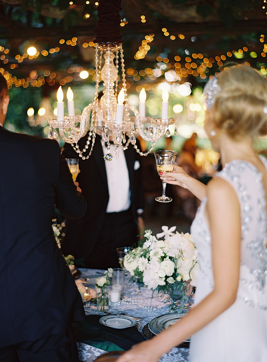 A Bride and Groom Giving a Toast
