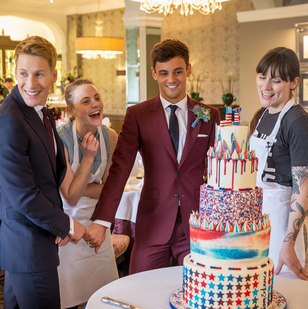 Tom Daley surprises Dustin Lance Black with a patriotic wedding cake