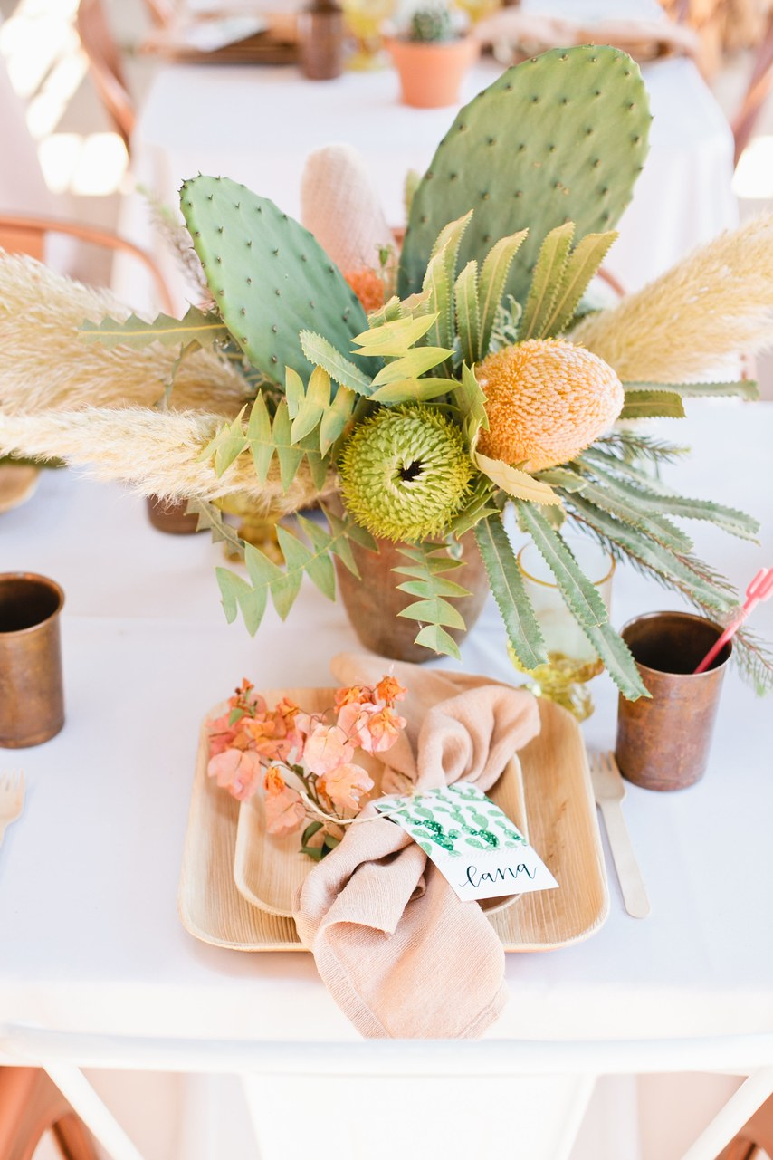 bridal shower centerpiece with pampas grass and cacti