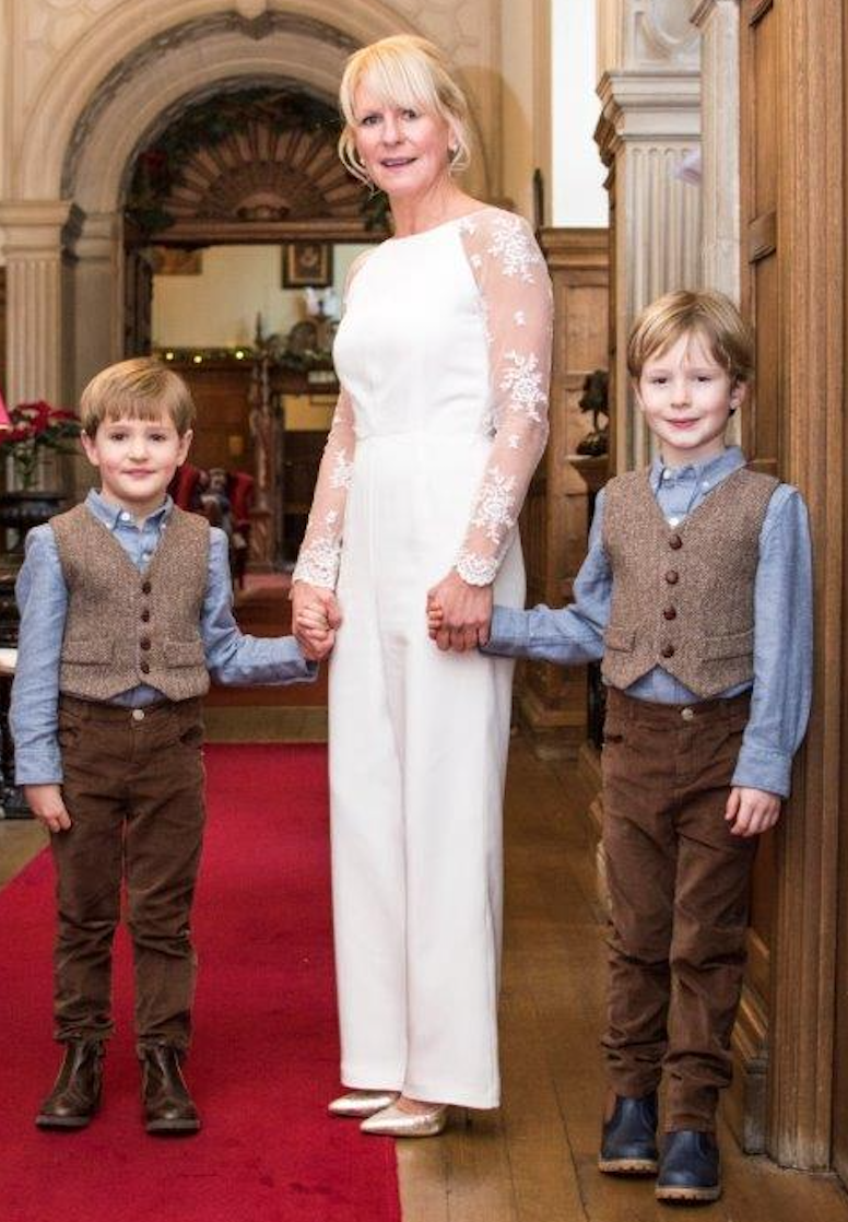 Bride in a Jumpsuit with Illusion Sleeves
