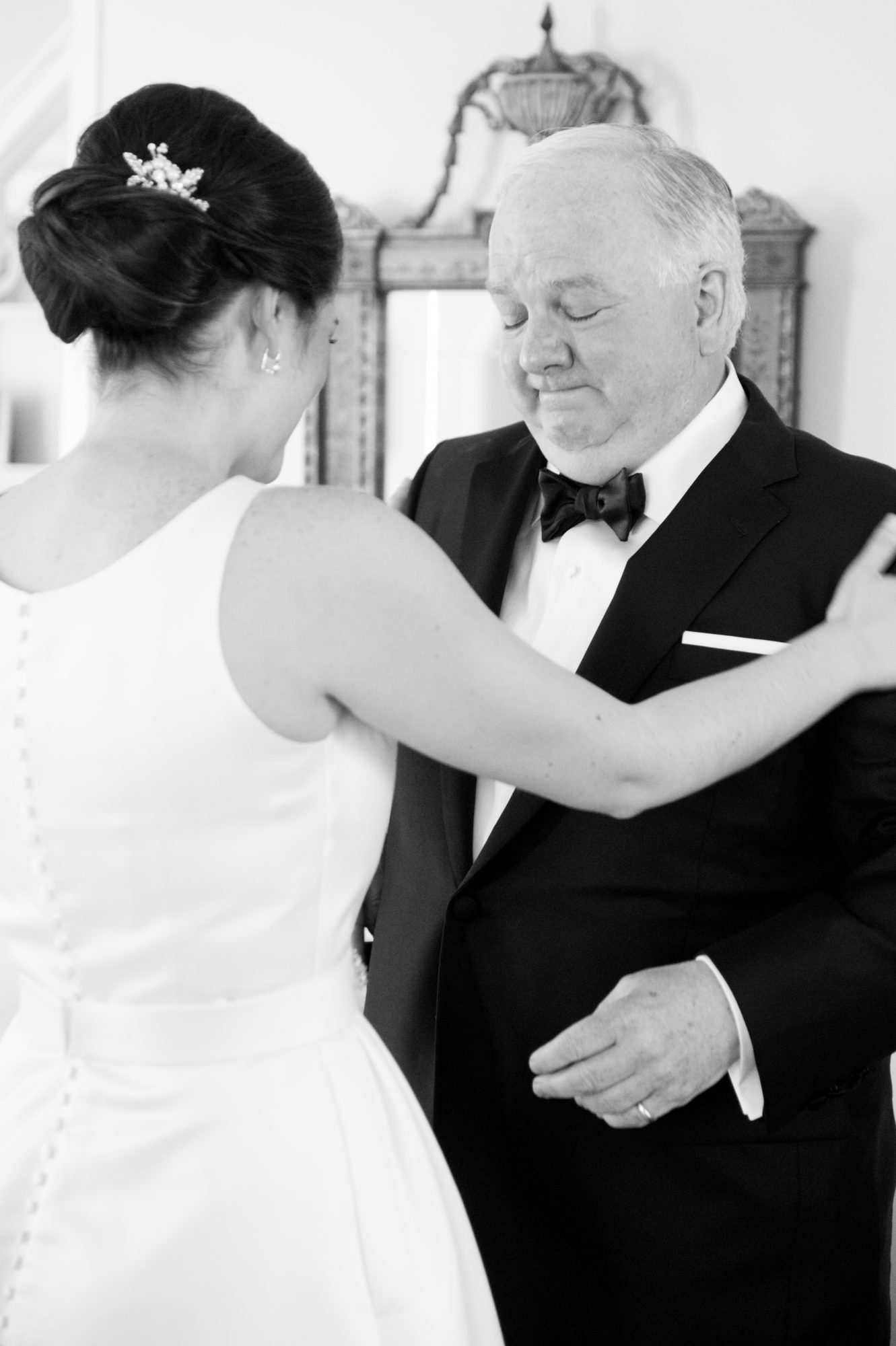 black white wedding image father daughter moment