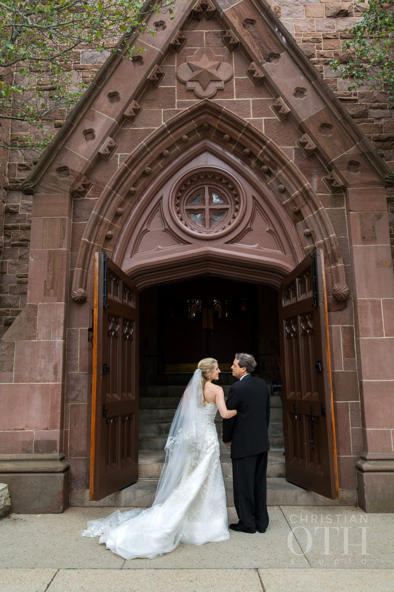 Father-Daughter Wedding Photos, Dad and Daughter Outside of Church