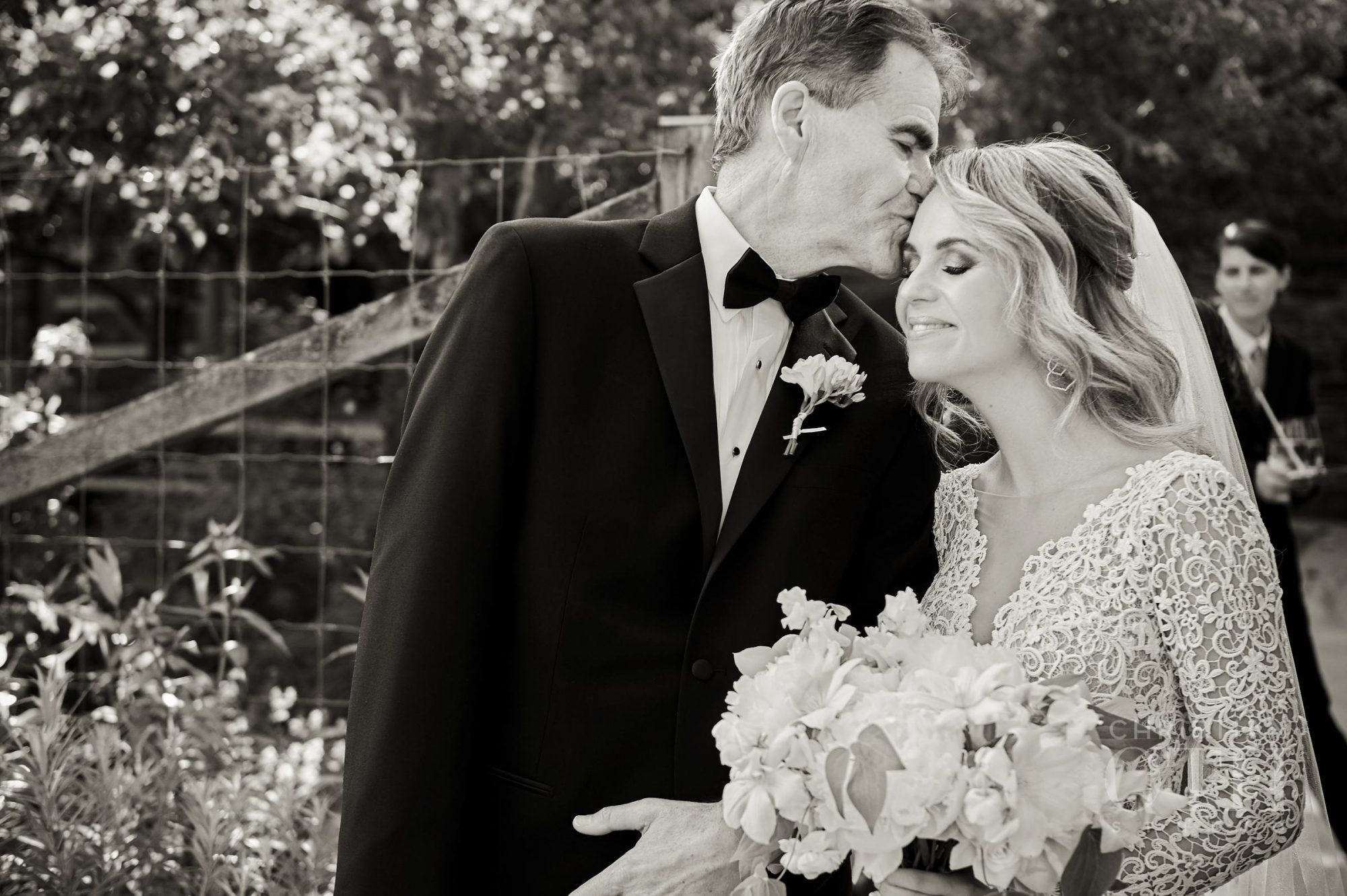 Father-Daughter Wedding Photos, Father Kissing Daughter Outside