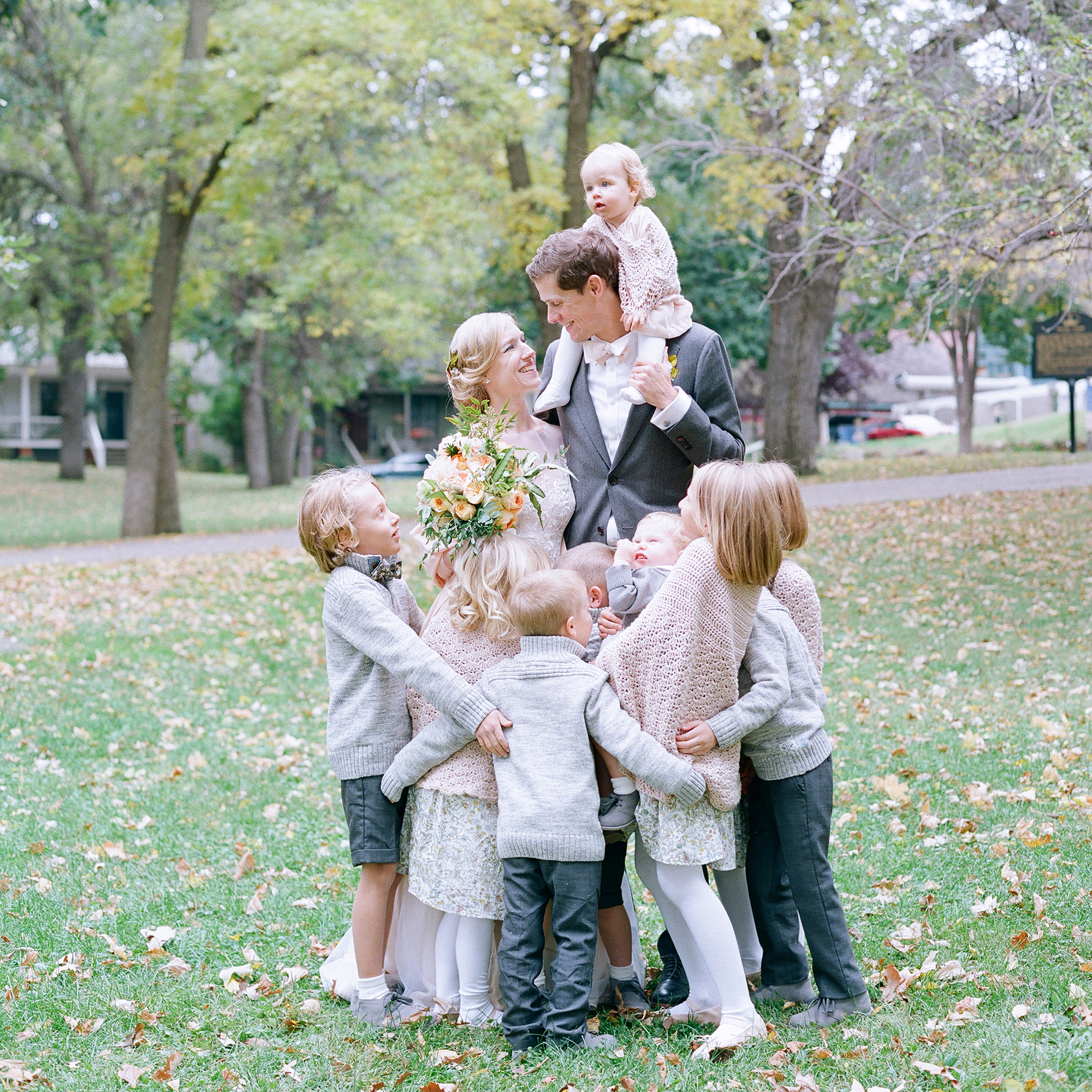Father-Daughter Wedding Photos, Bride and Groom with Baby and Wedding Party Kids