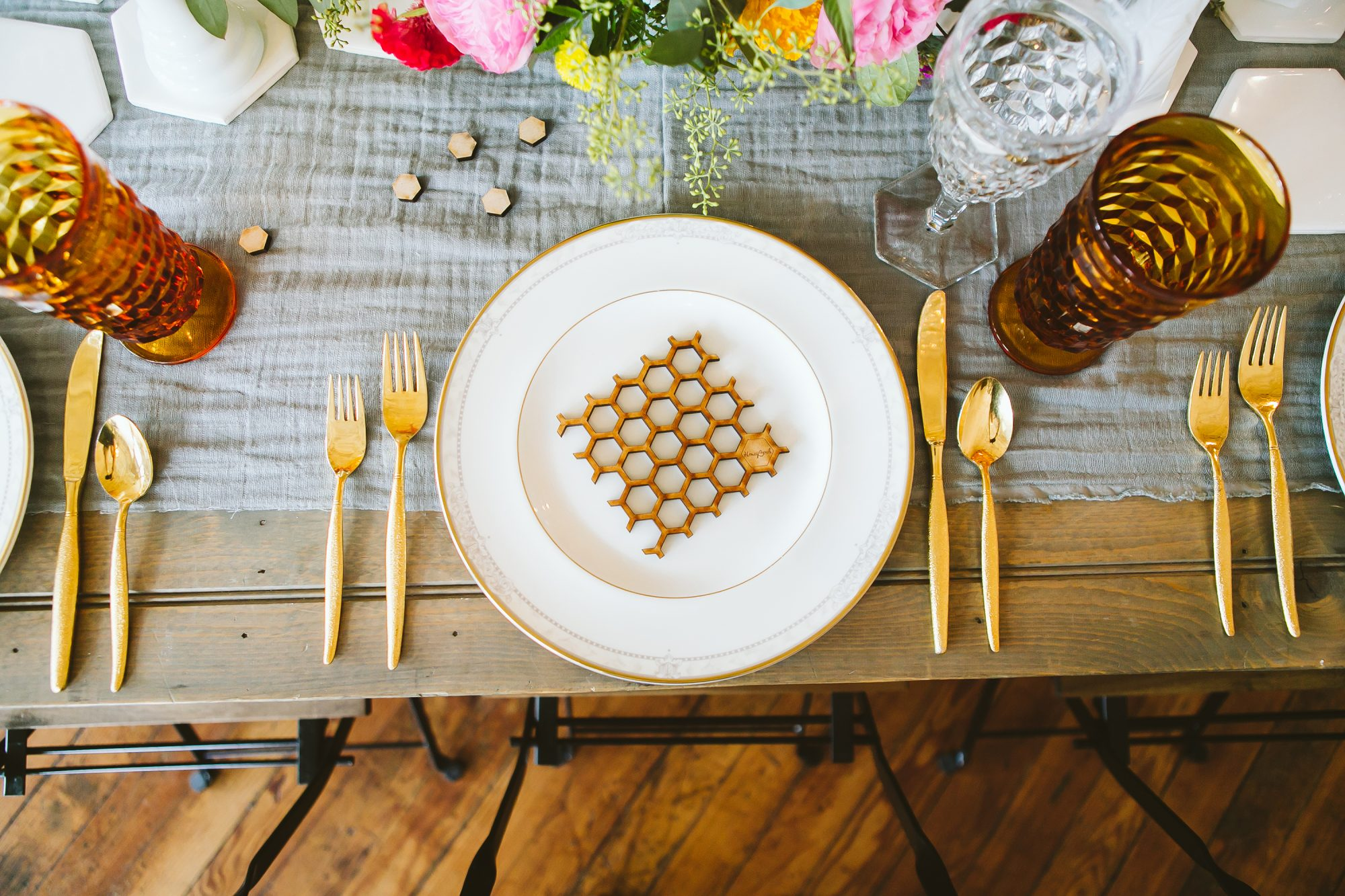 Honeycomb Wedding Inspiration, Place Setting with Wooden Honeycomb on Charger