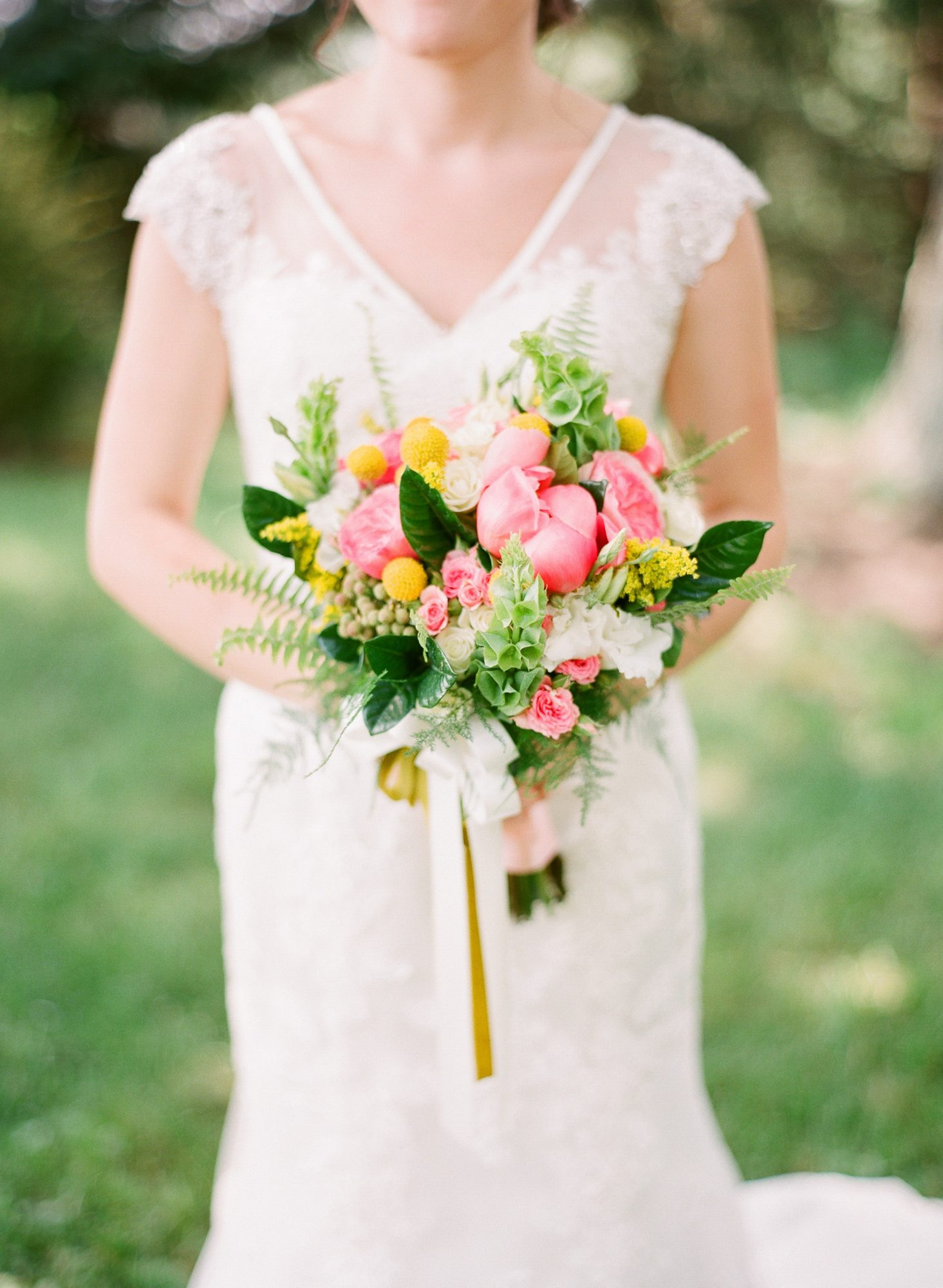 Fern Wedding Bouquet with Peonies and Bright Flowers
