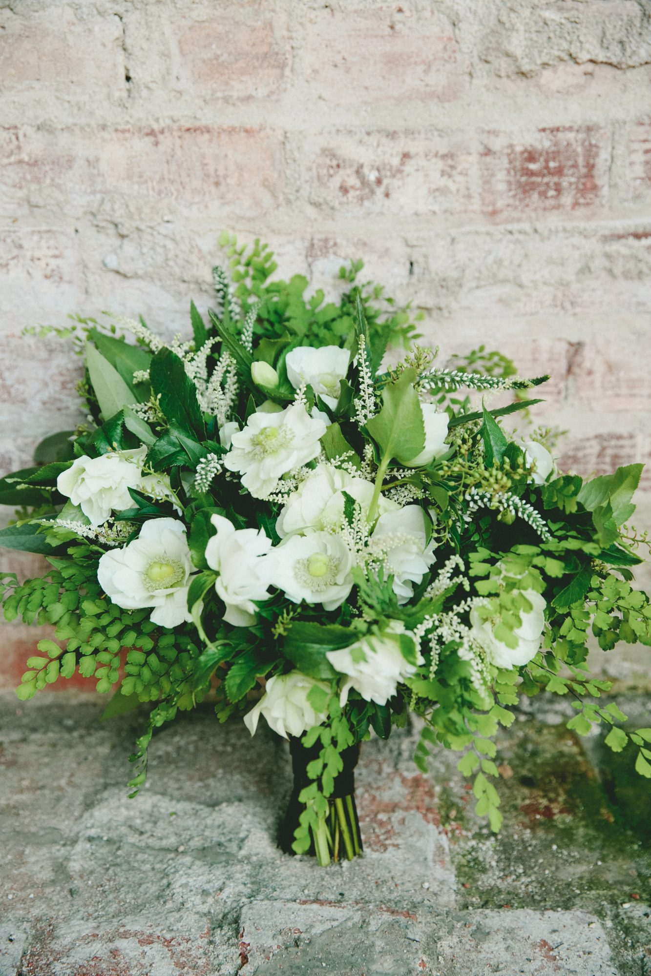 Fern Wedding Bouquet with Anemones