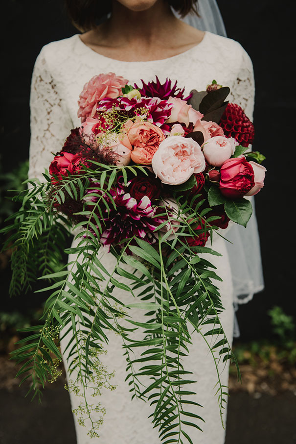 Fern Wedding Bouquet with Peonies, Roses, and Zinnias