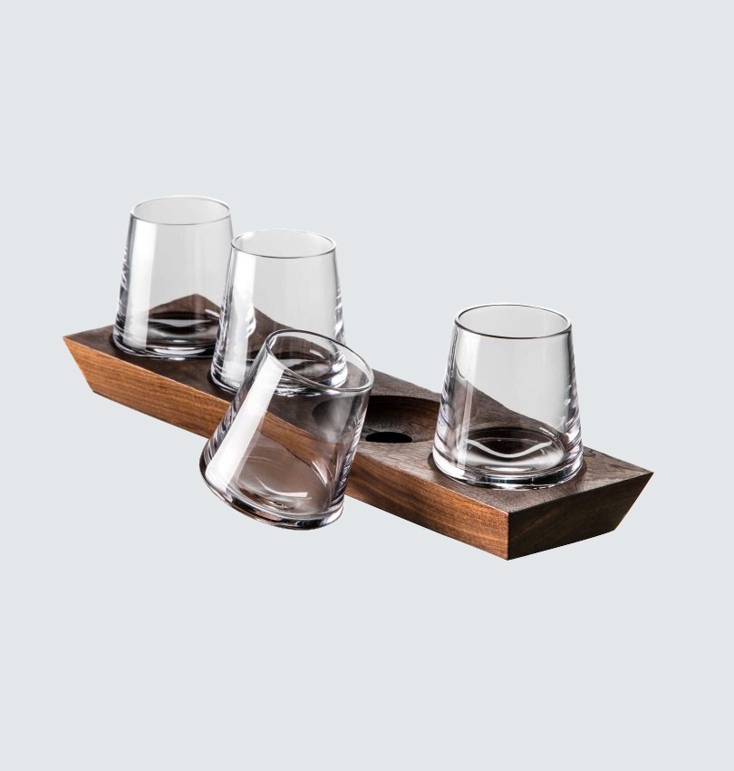 ludlow whiskey glasses and tray