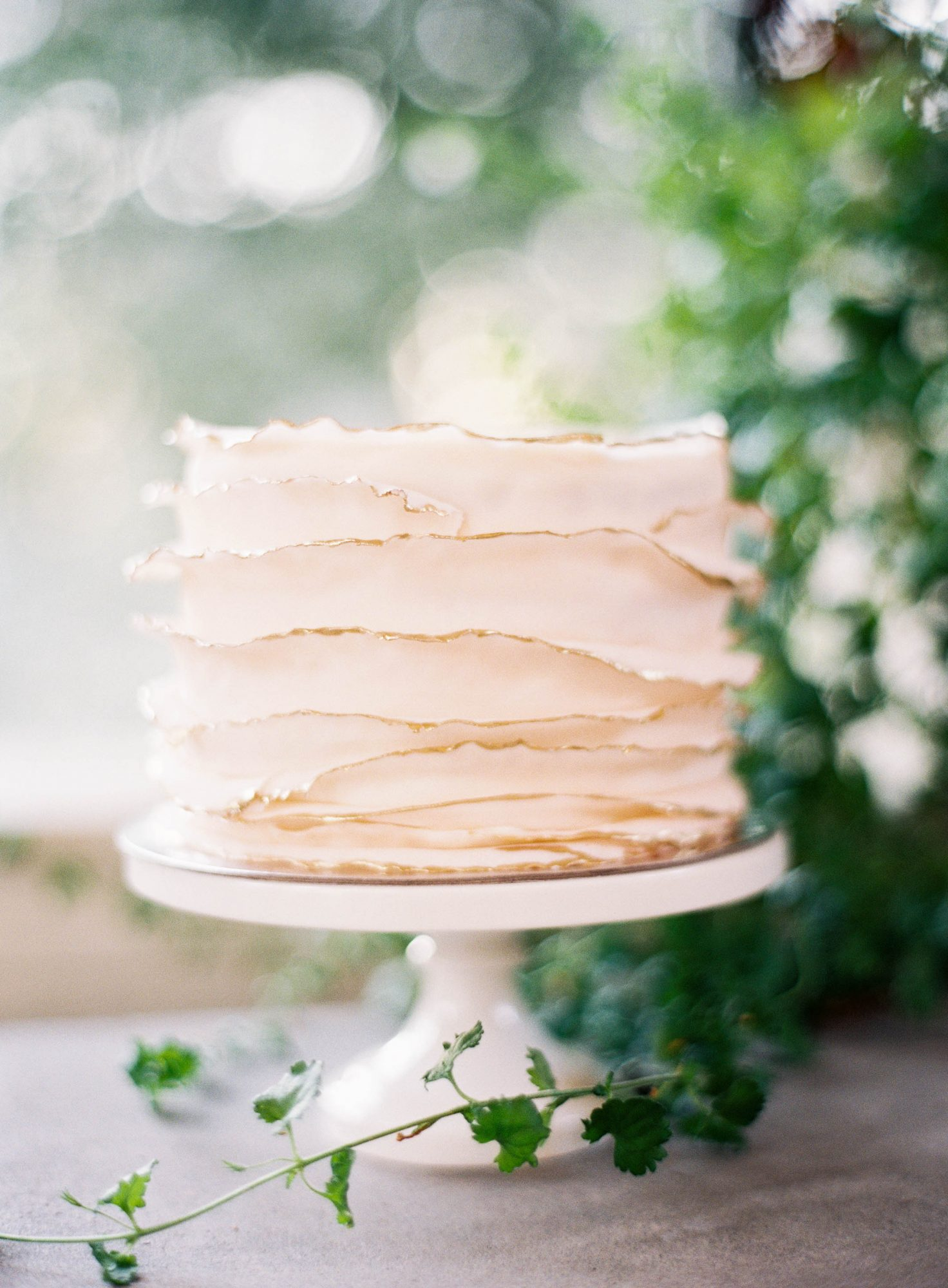 Single-Tiered Deckle-Edge Cake with Gold Details