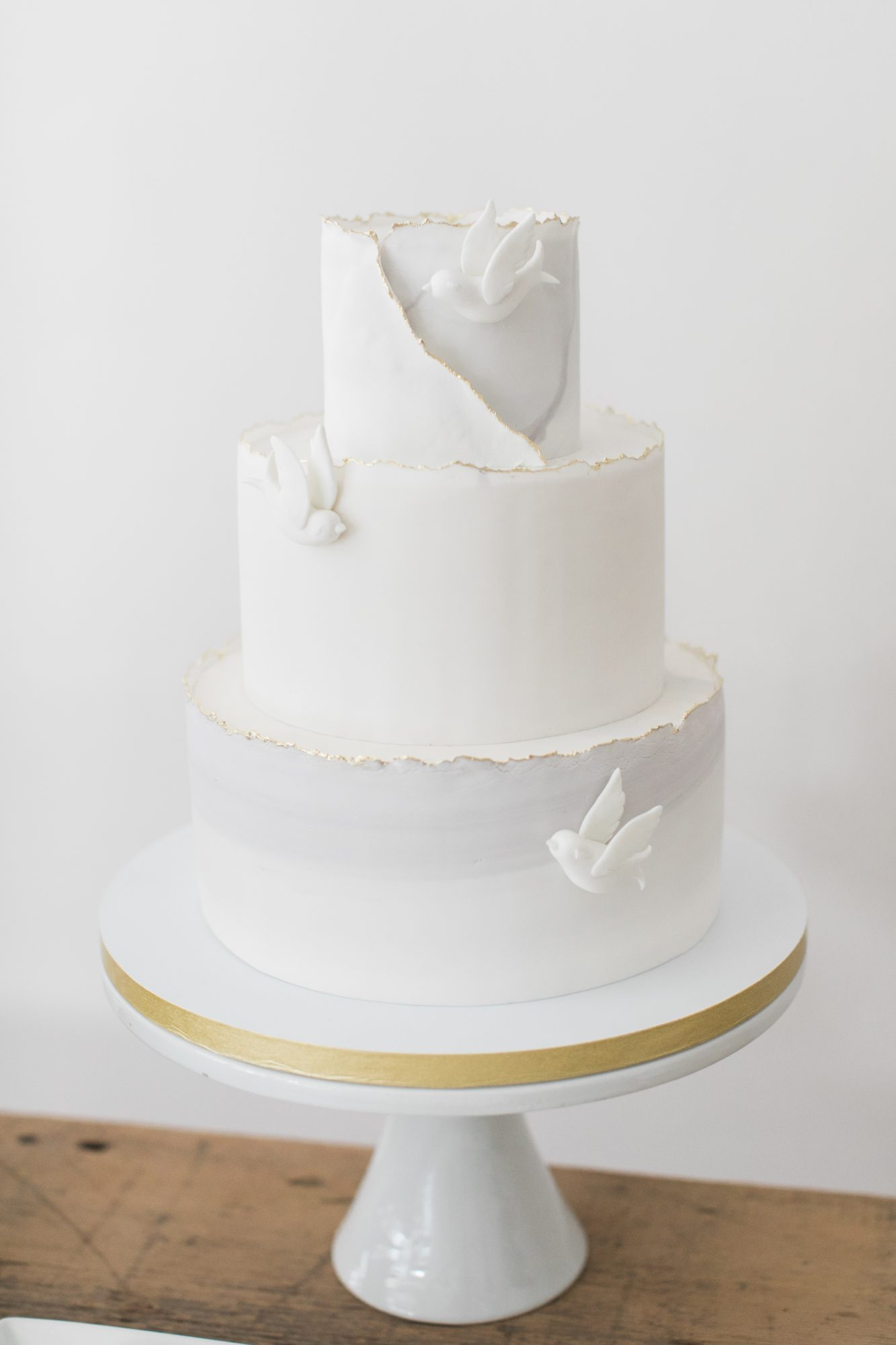 Deckle-Edge White and Gray Cake with Doves