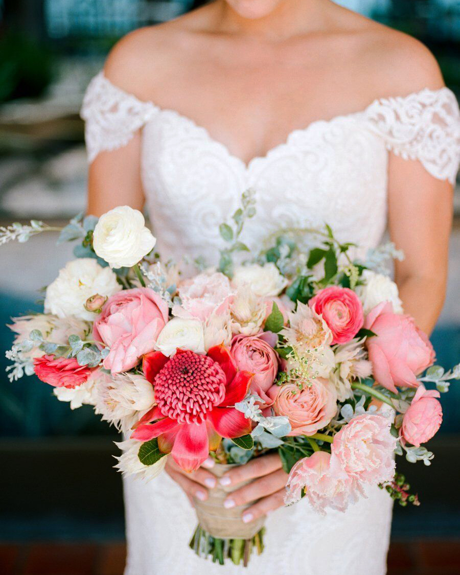 heat resistant bouquets shades of pink