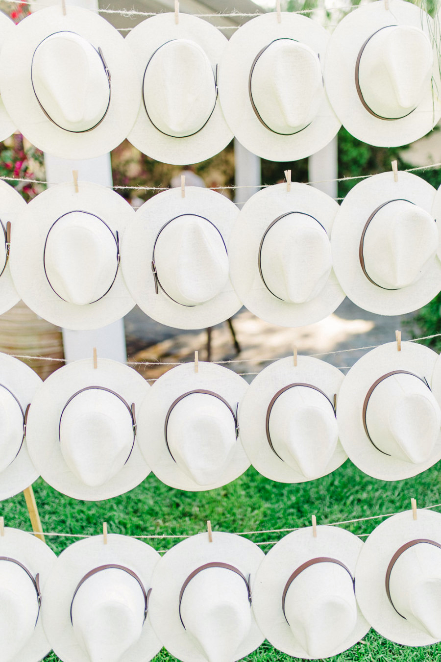 favors hats wall clothesline clothespins