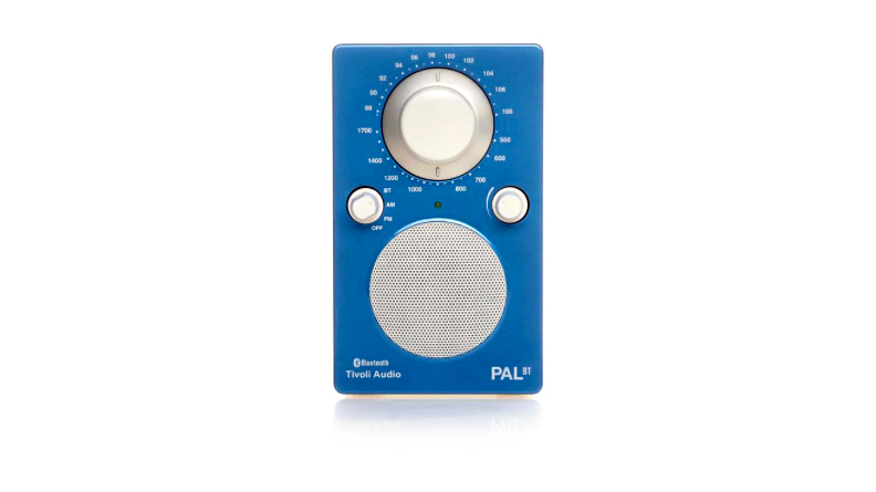 blue and white tivoli portable radio