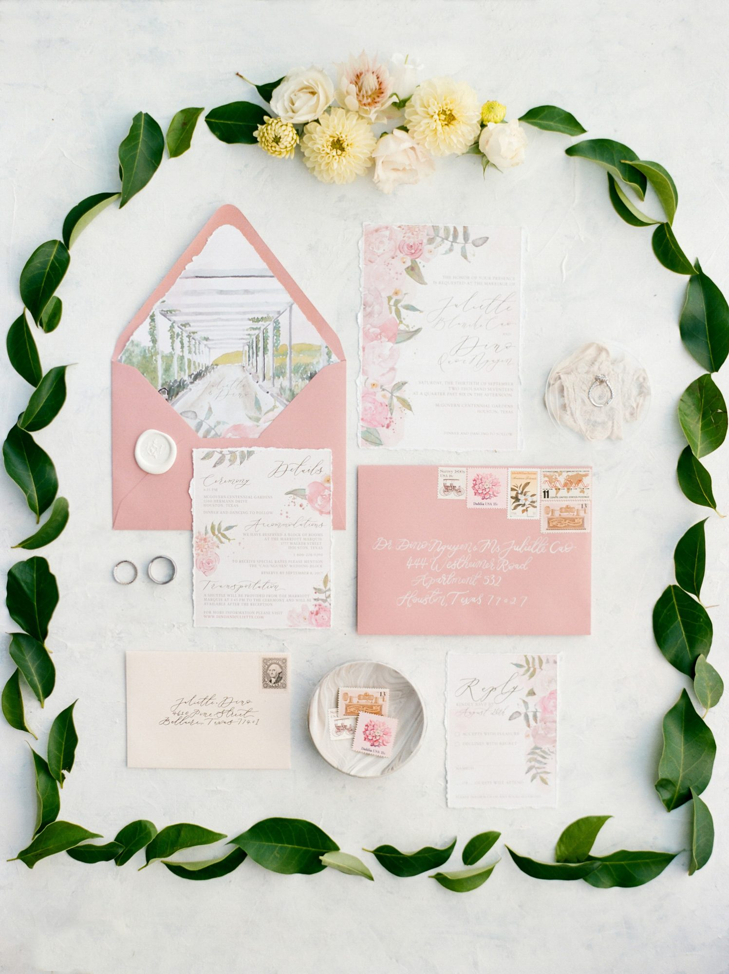 envelope liner scene water color invitations
