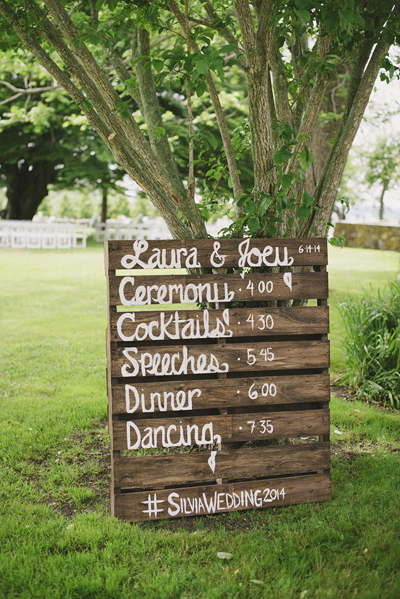 wedding schedule on palette