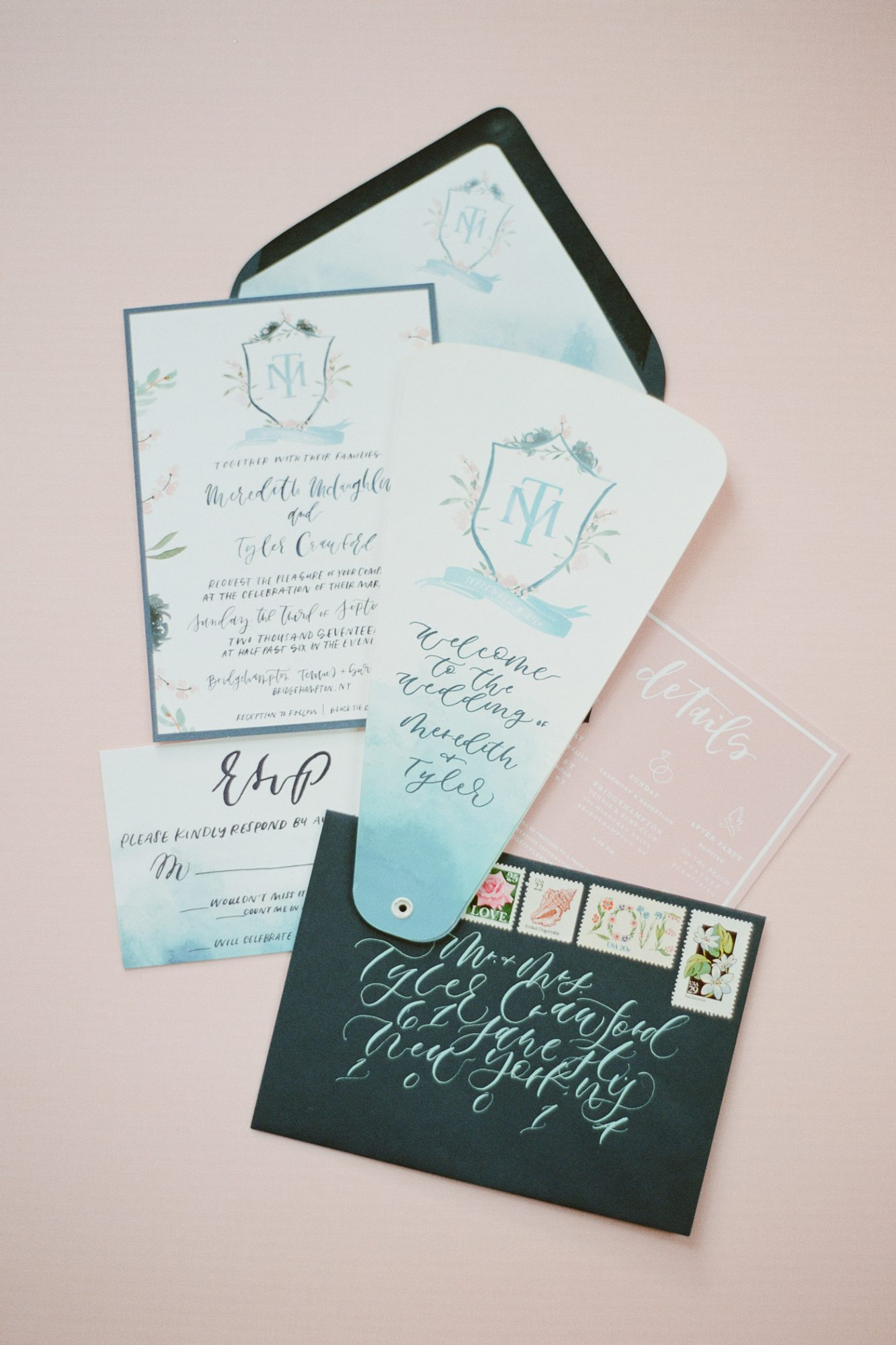 calligraphy crest watercolor wedding invites