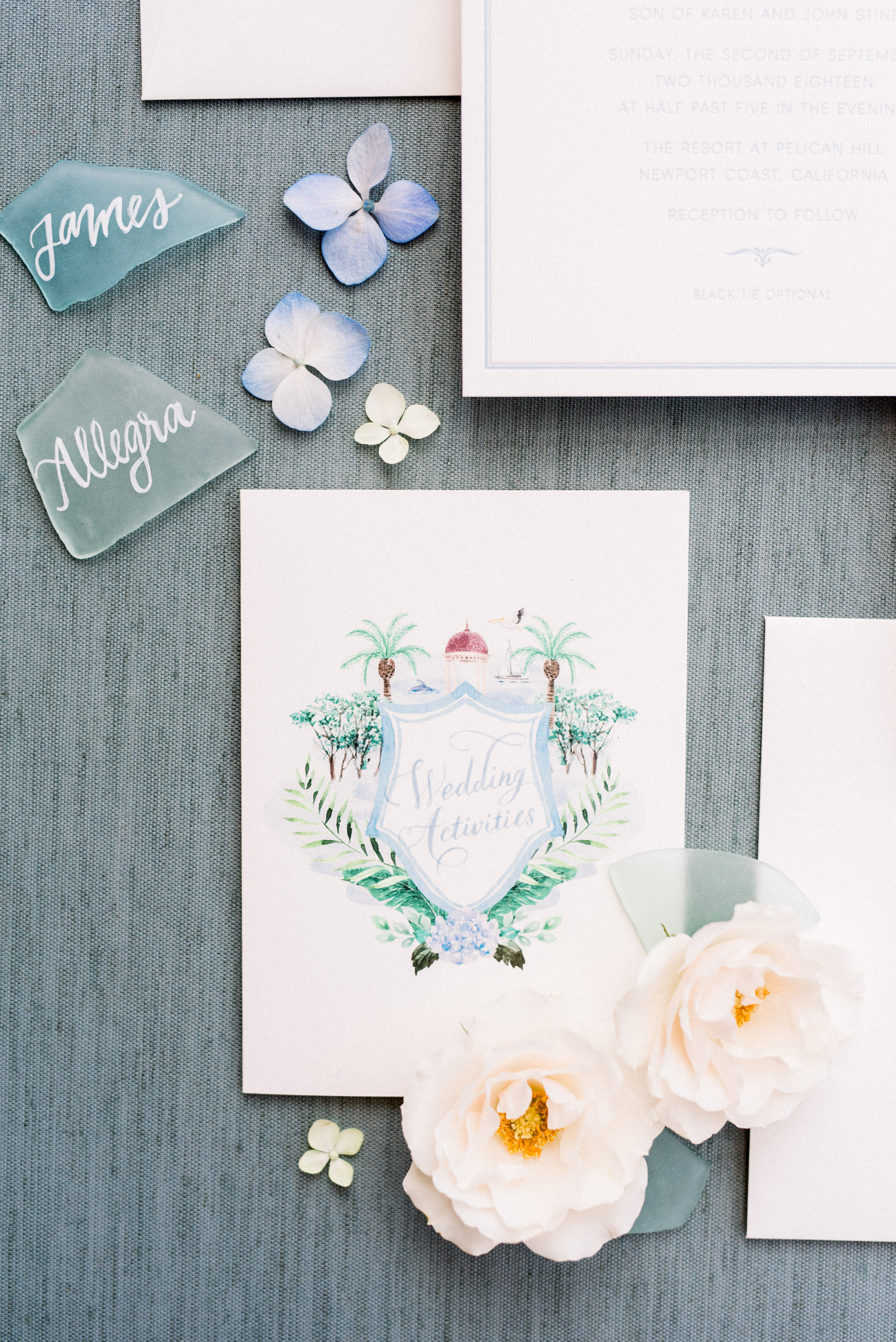 detailed tropical watercolor wedding invites