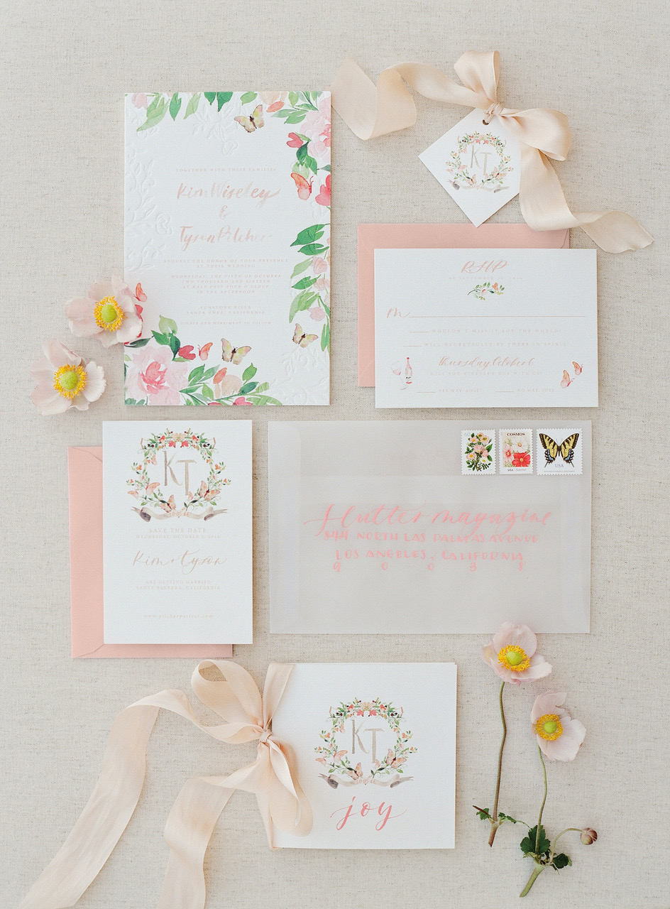 colorful florals butterflies watercolor wedding invites