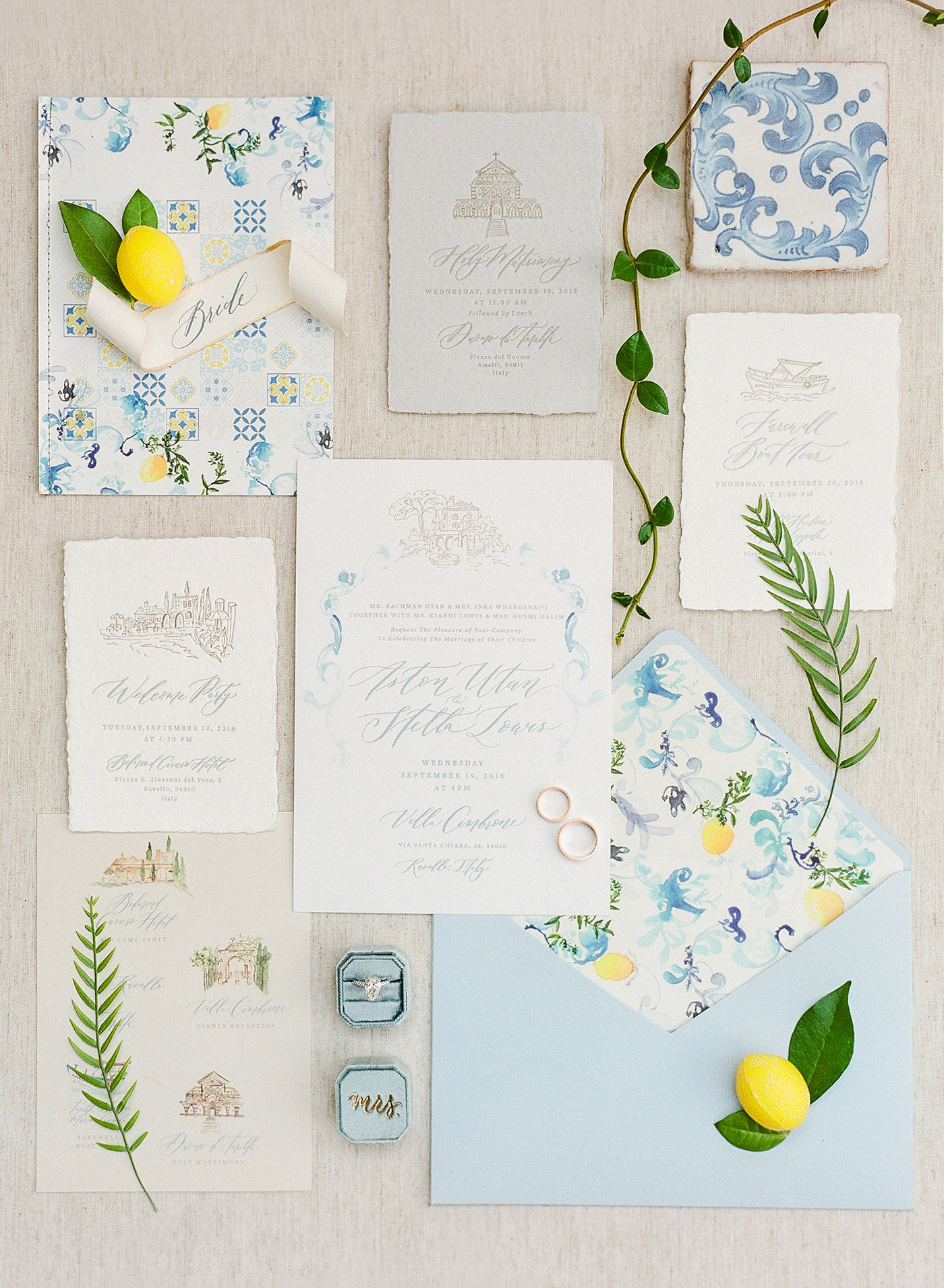 lemon mediterranean watercolor wedding invites