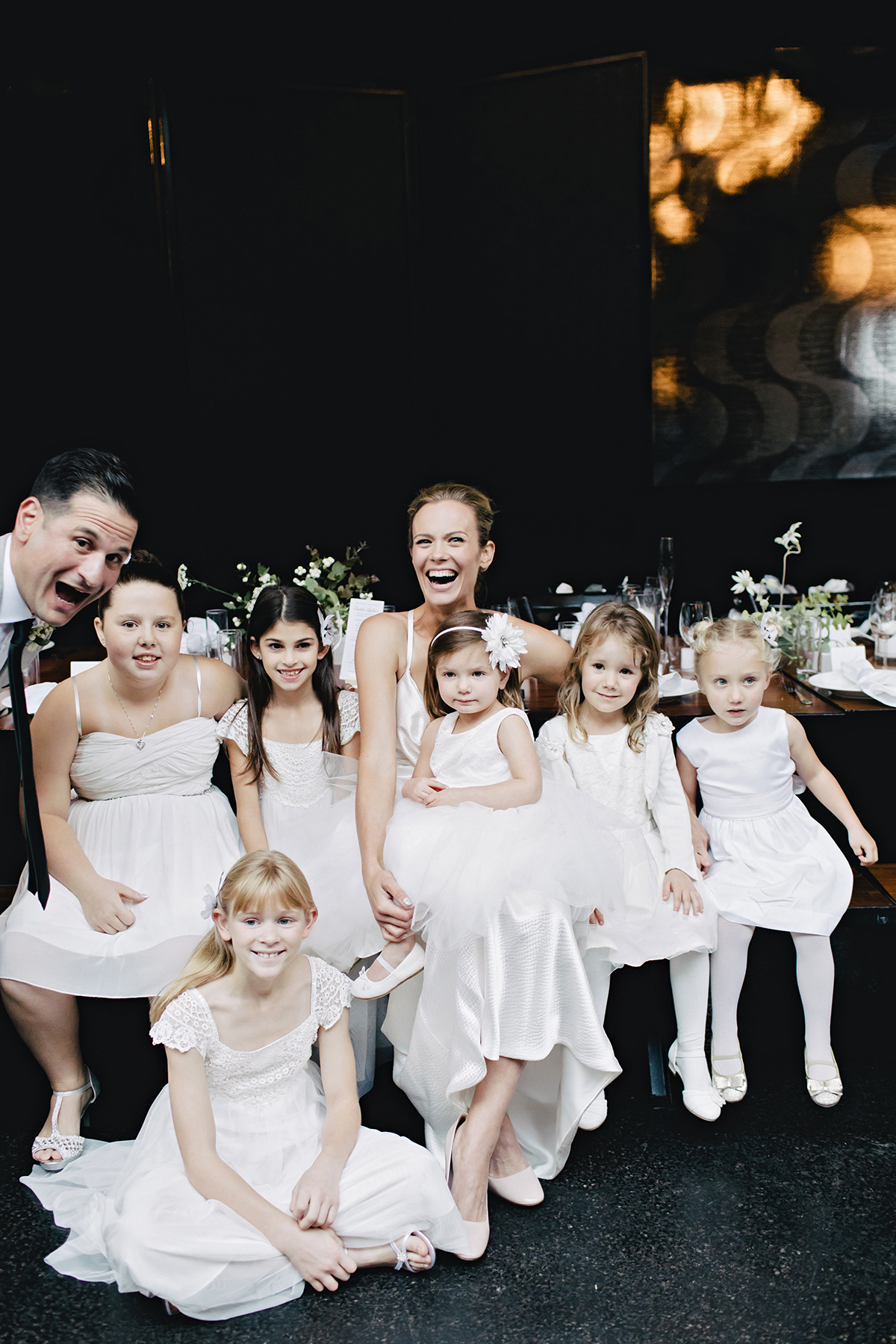ana and damon with flower girls
