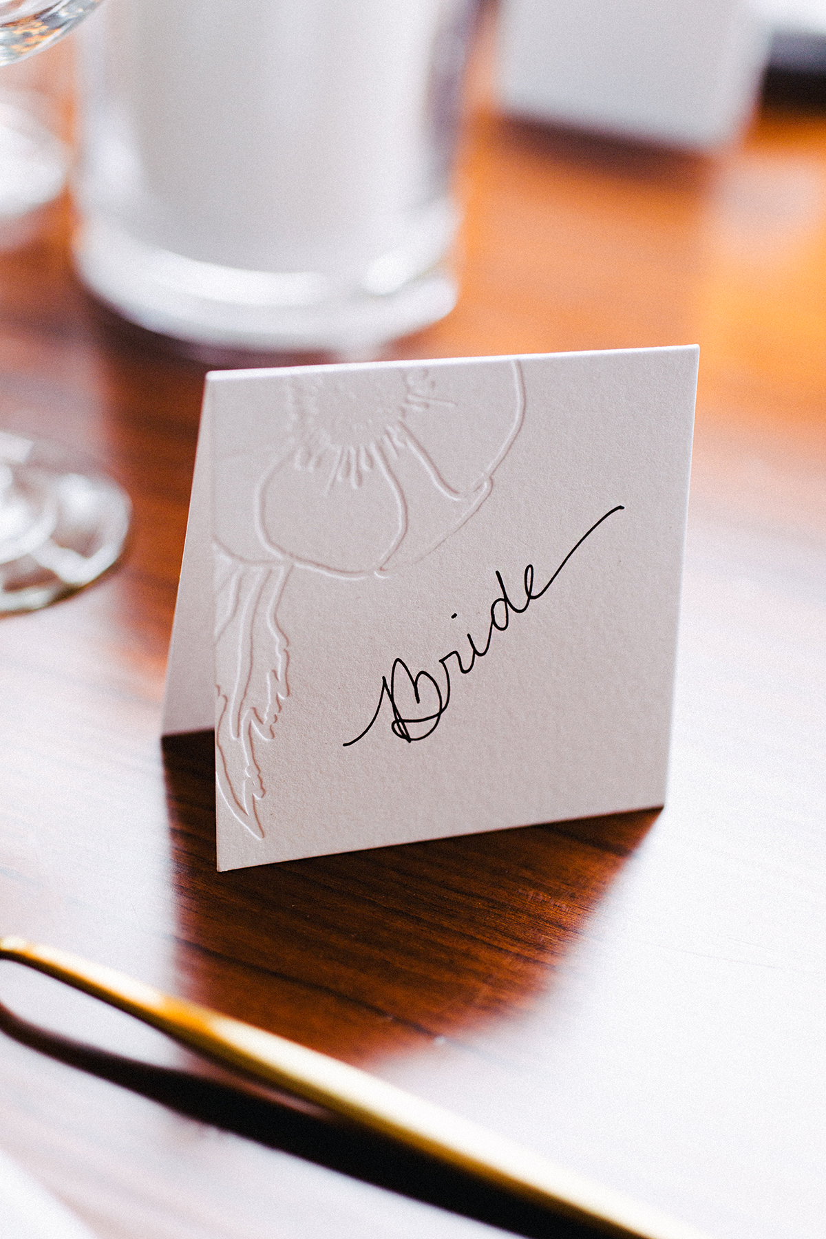 ana and damon brides place card