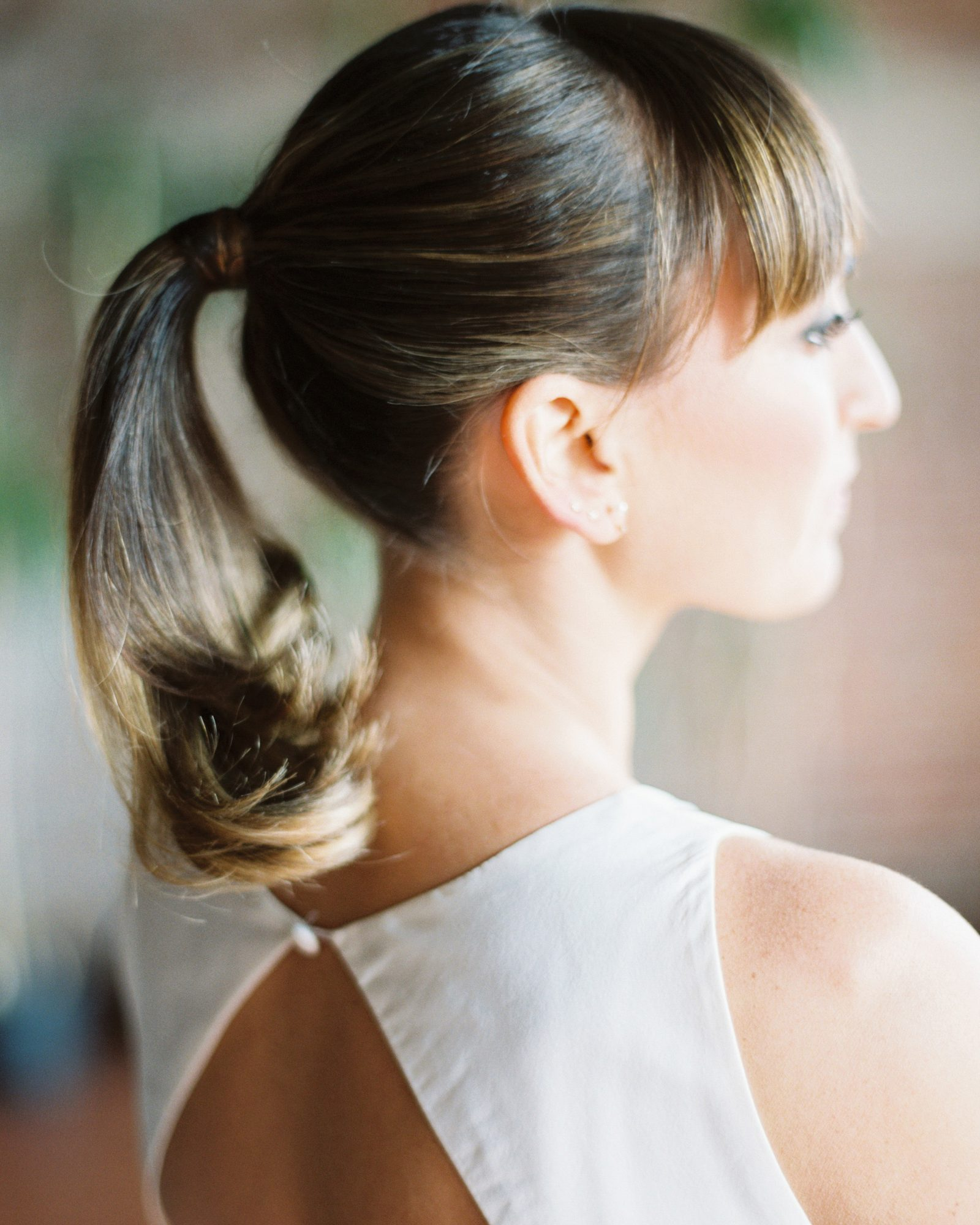 bridal ponytail bangs