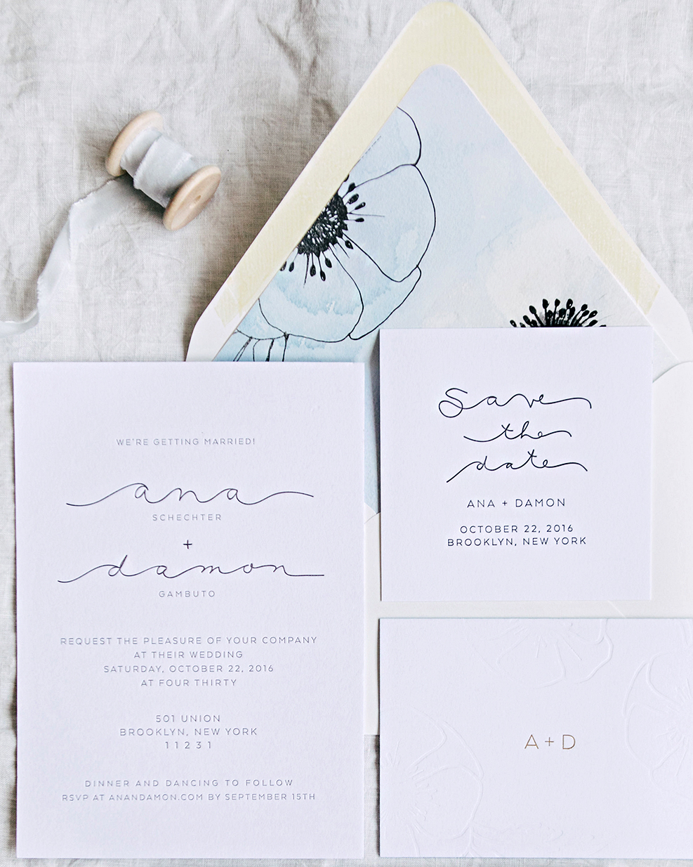 ana and damon wedding stationery suite