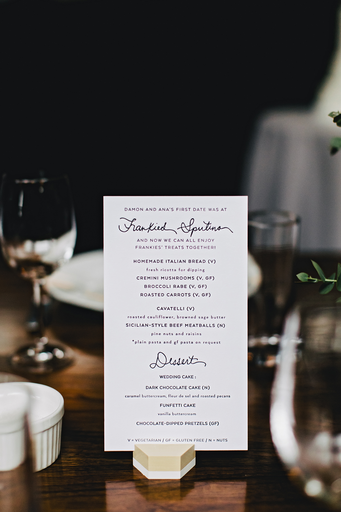 ana and damon menu on table