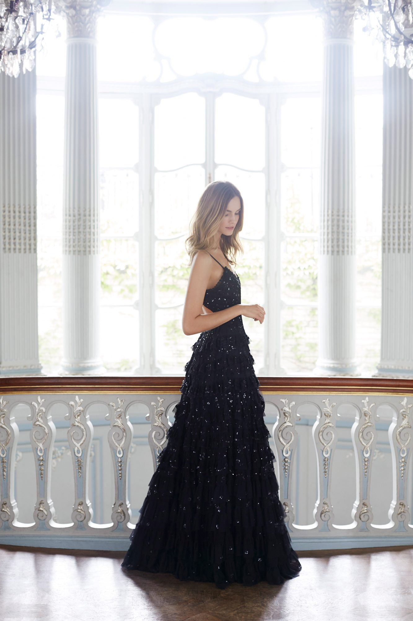needle and thread wedding dresses fall 2017 black color sparkle ruffles