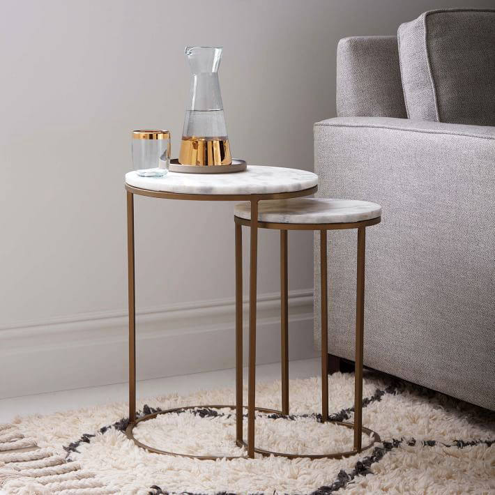 West Elm Marble Round Nesting Tables