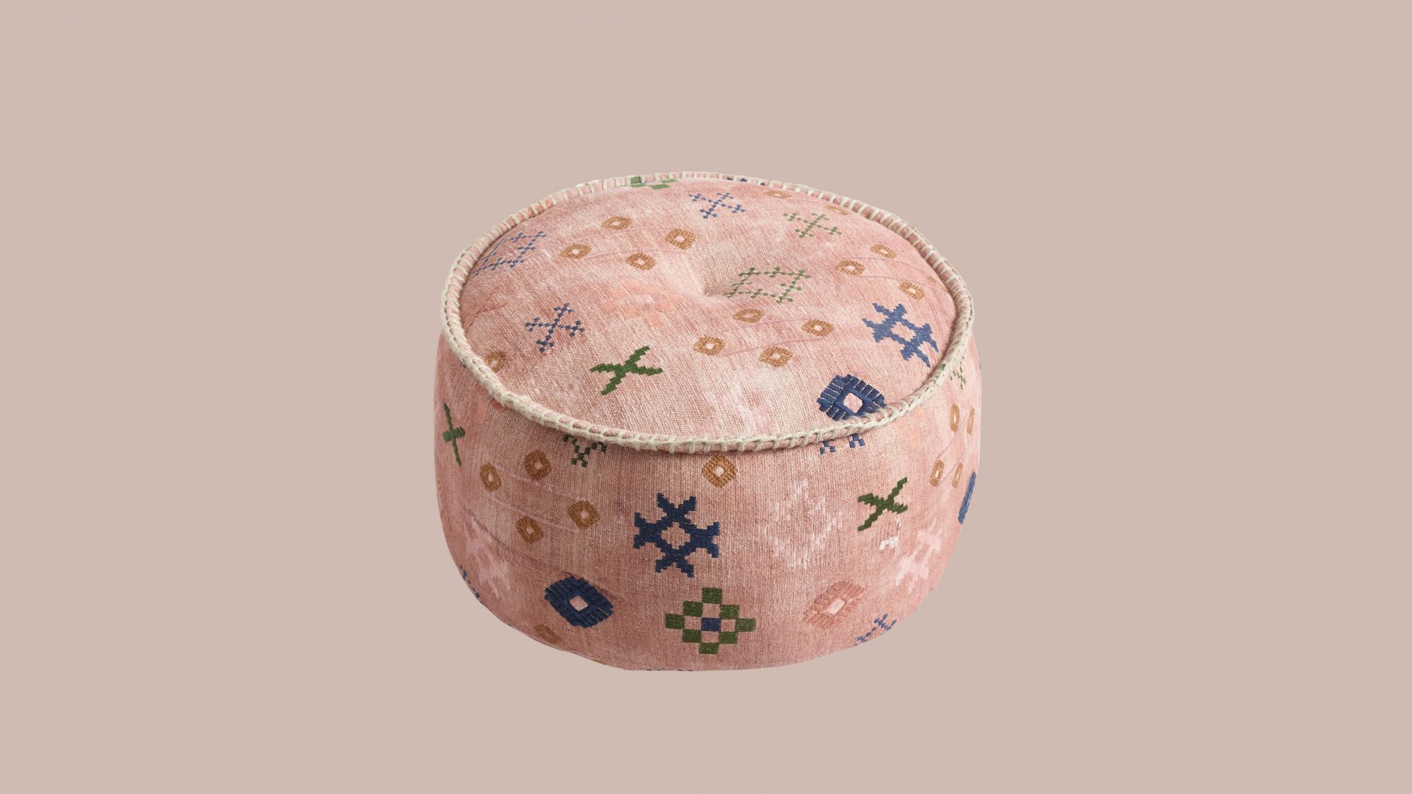 World Market Blush Abstract Symbols Pouf