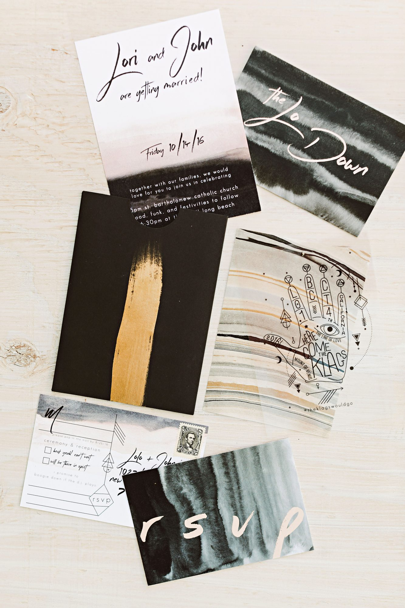 lori john wedding california stationery