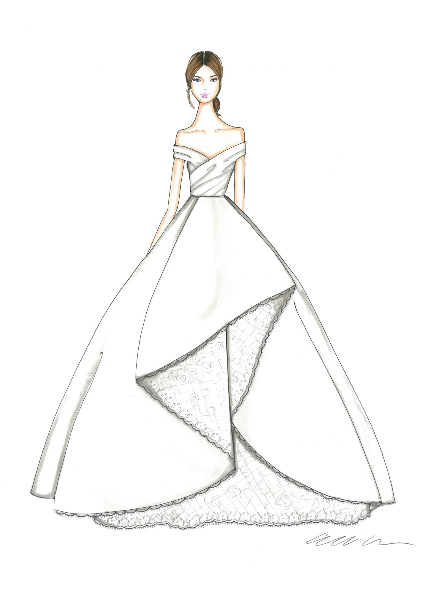 allison webb wedding dress sketch