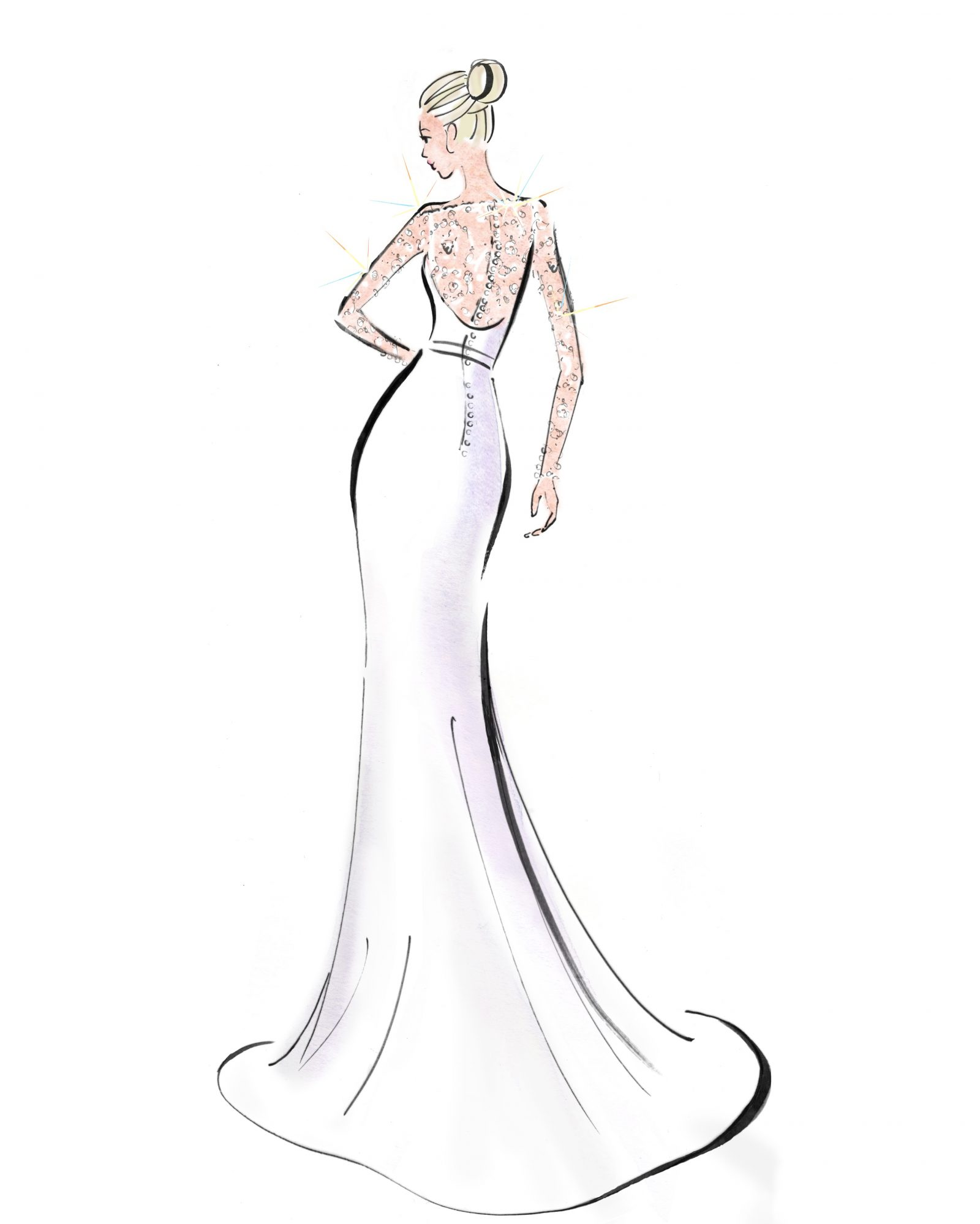 caroline castigliano wedding dress sketch