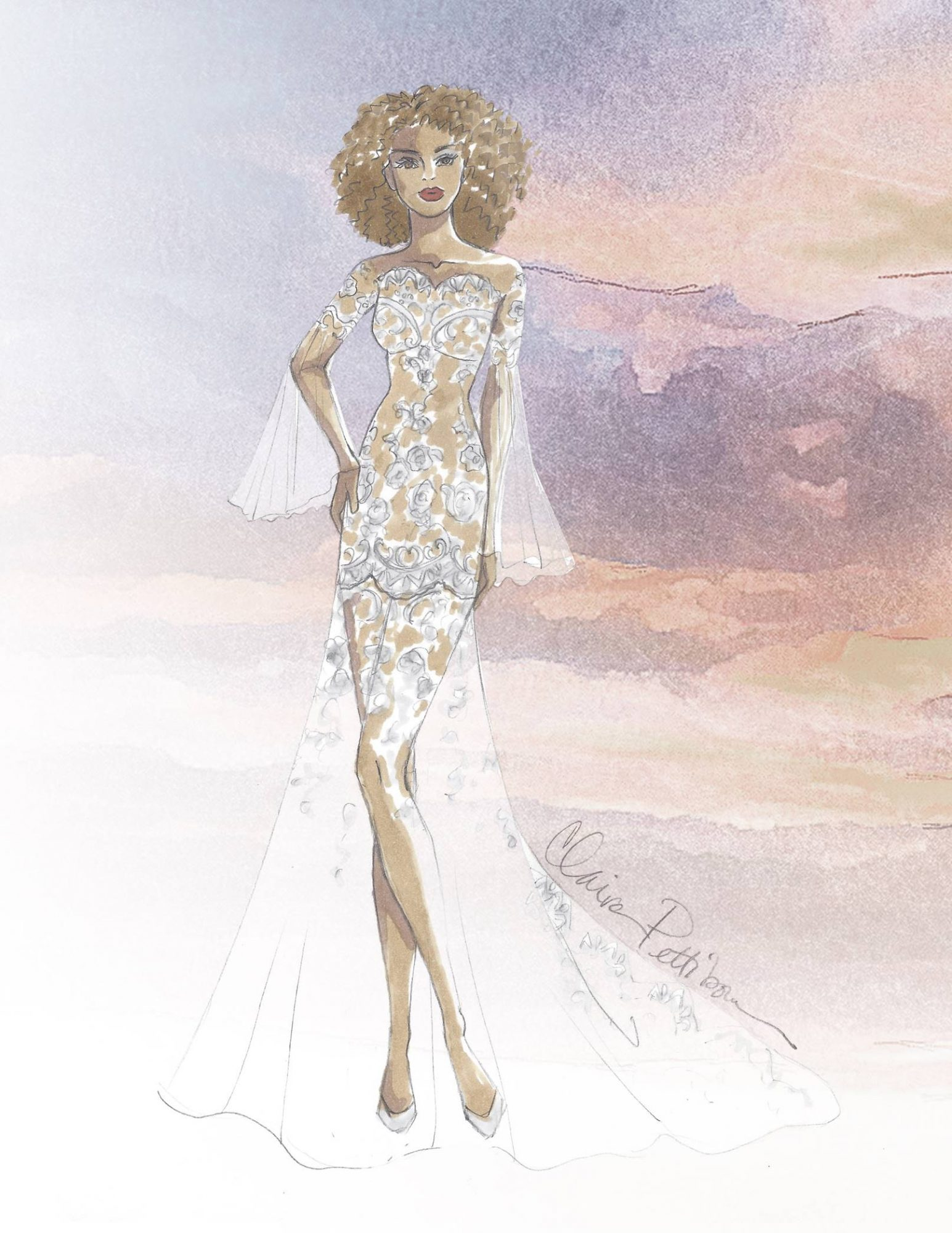claire pettibone wedding dress sketch