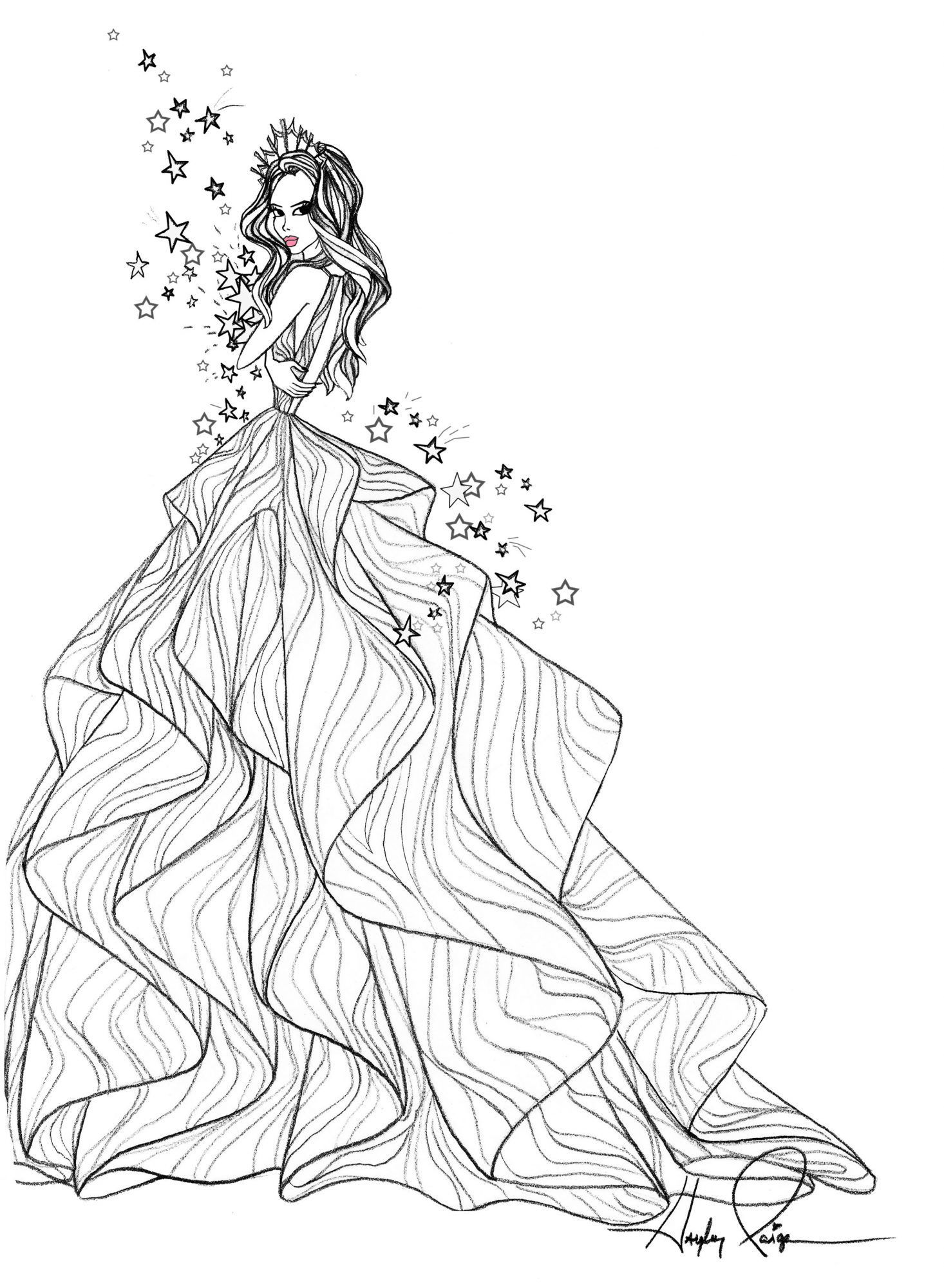 hayley paige wedding dress sketch