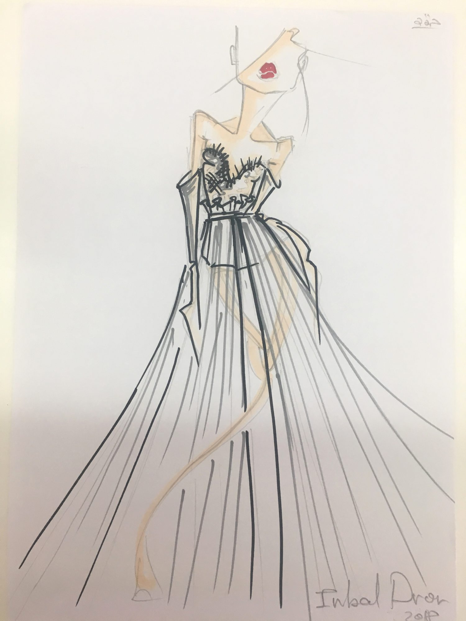 inbal dror wedding dress sketch