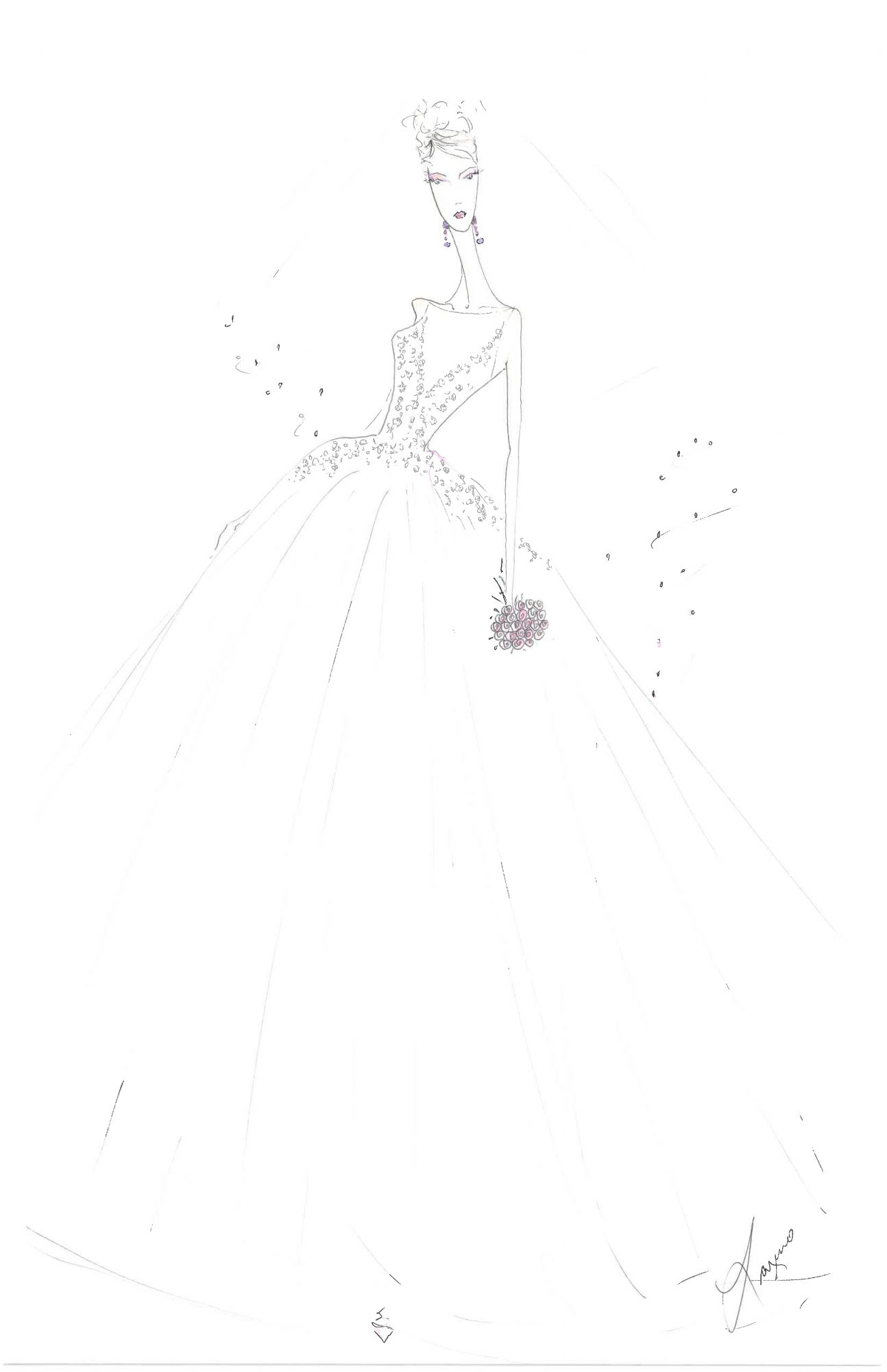 lazaro wedding dress sketch
