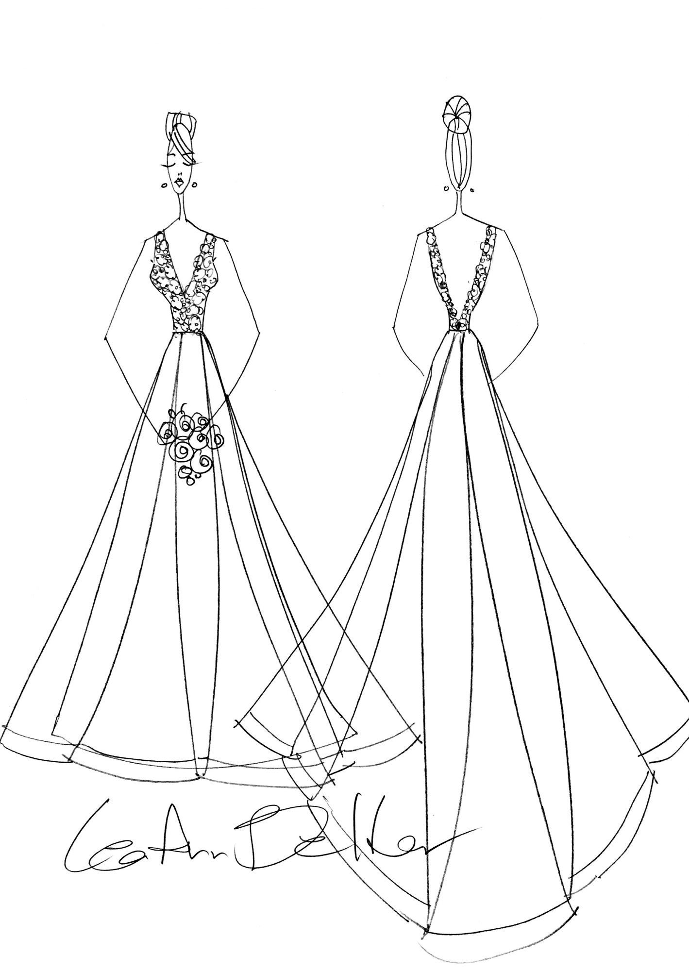 lea-ann belter wedding dress sketch