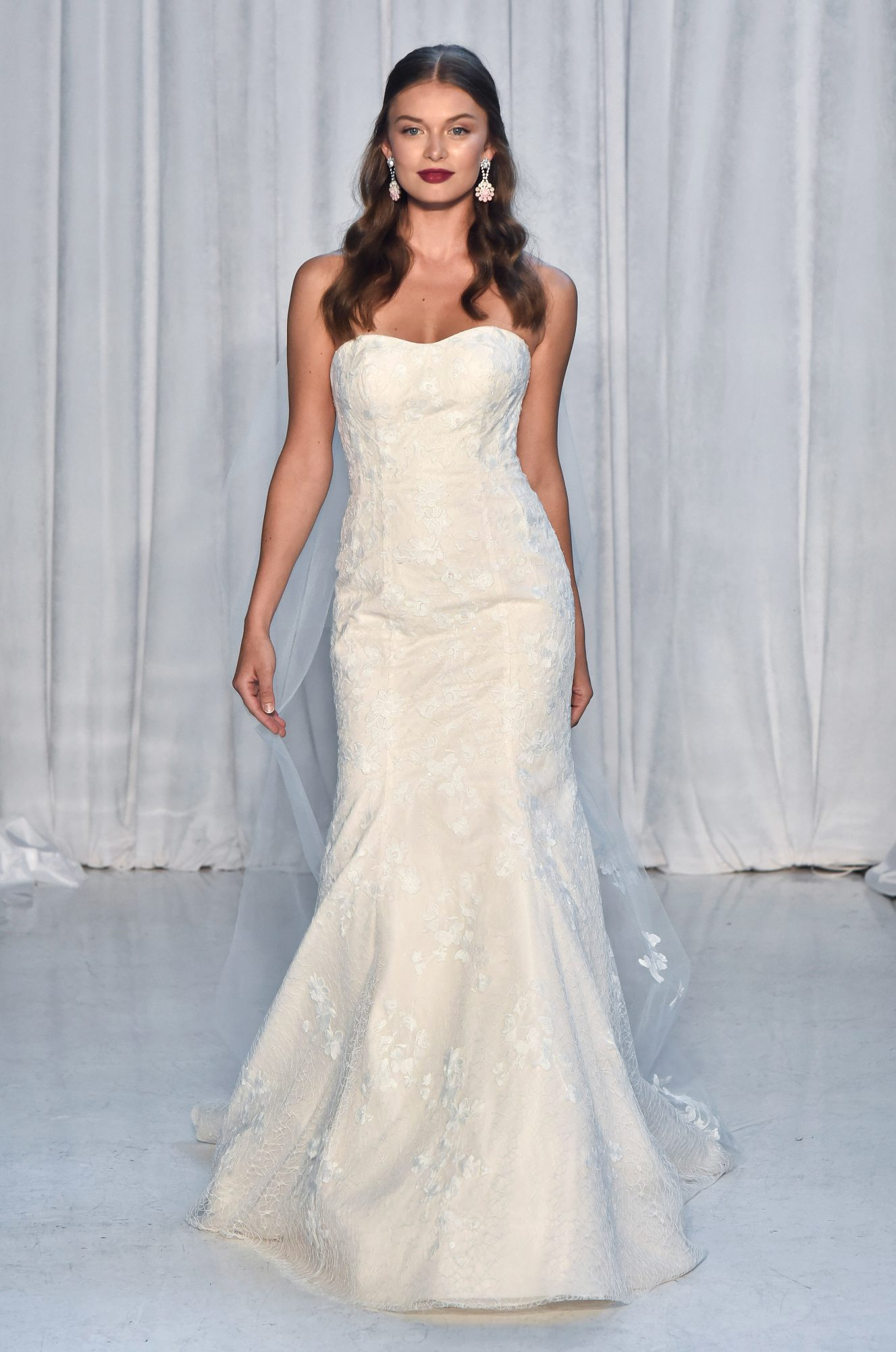 anne barge wedding dress fall 2018 strapless trumpet lace overlay