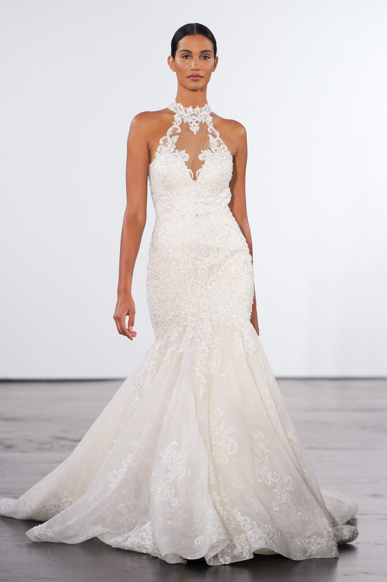 dennis basso wedding dress fall 2018 fit and flare halter