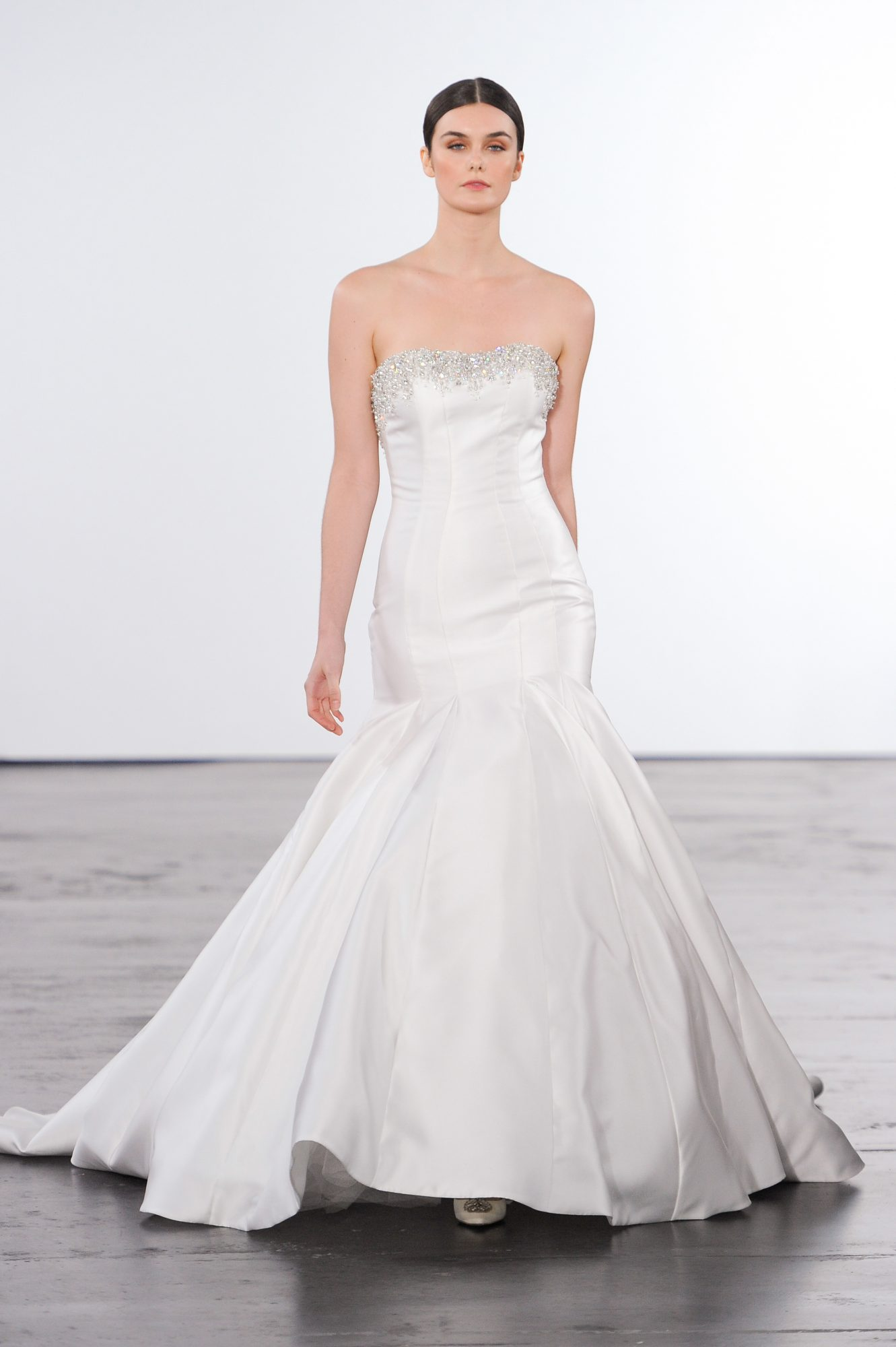 dennis basso wedding dress fall 2018 fit and flare strapless