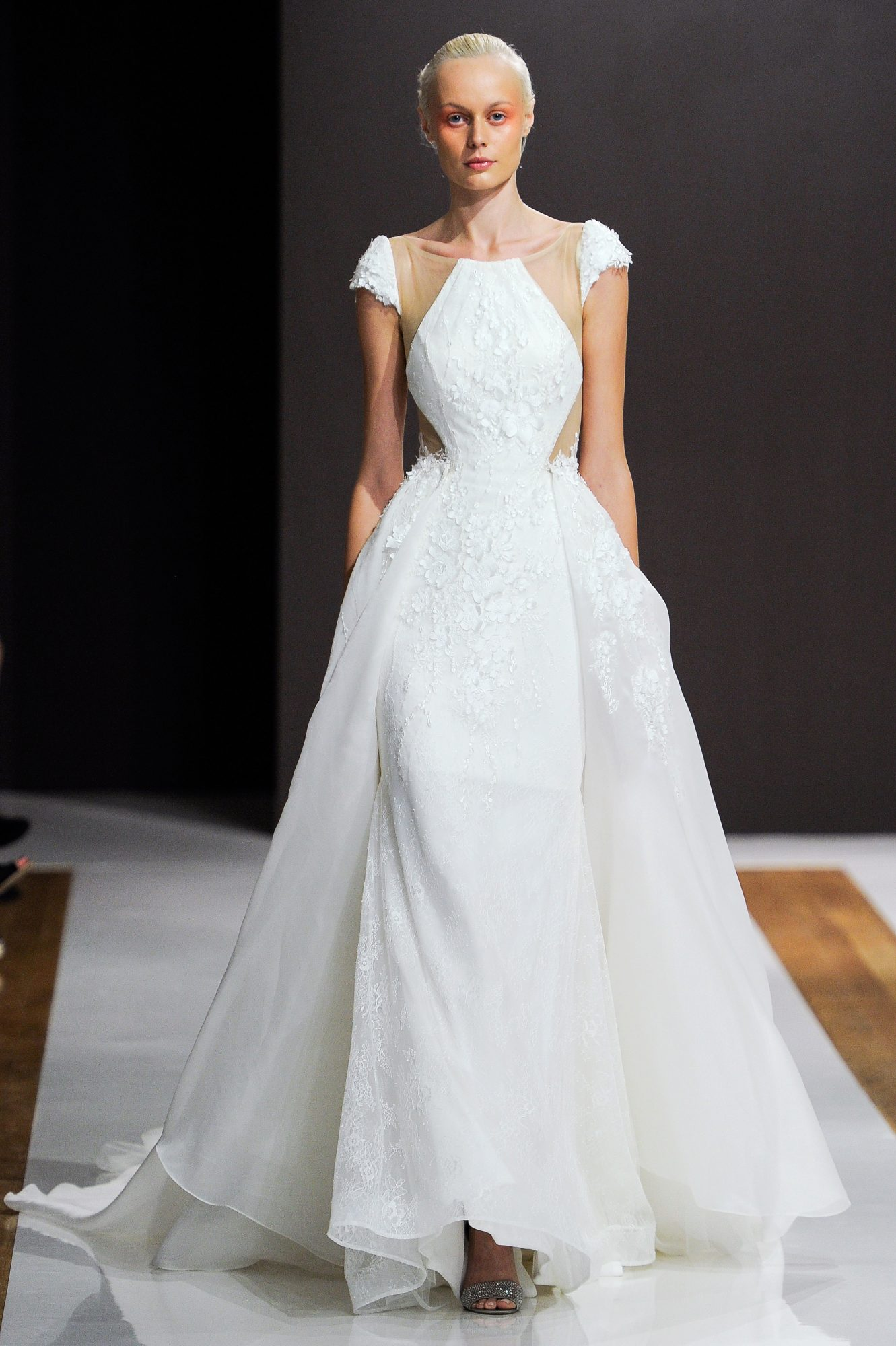 mark zunino wedding dress fall 2018 cap sleeves ball gown pockets