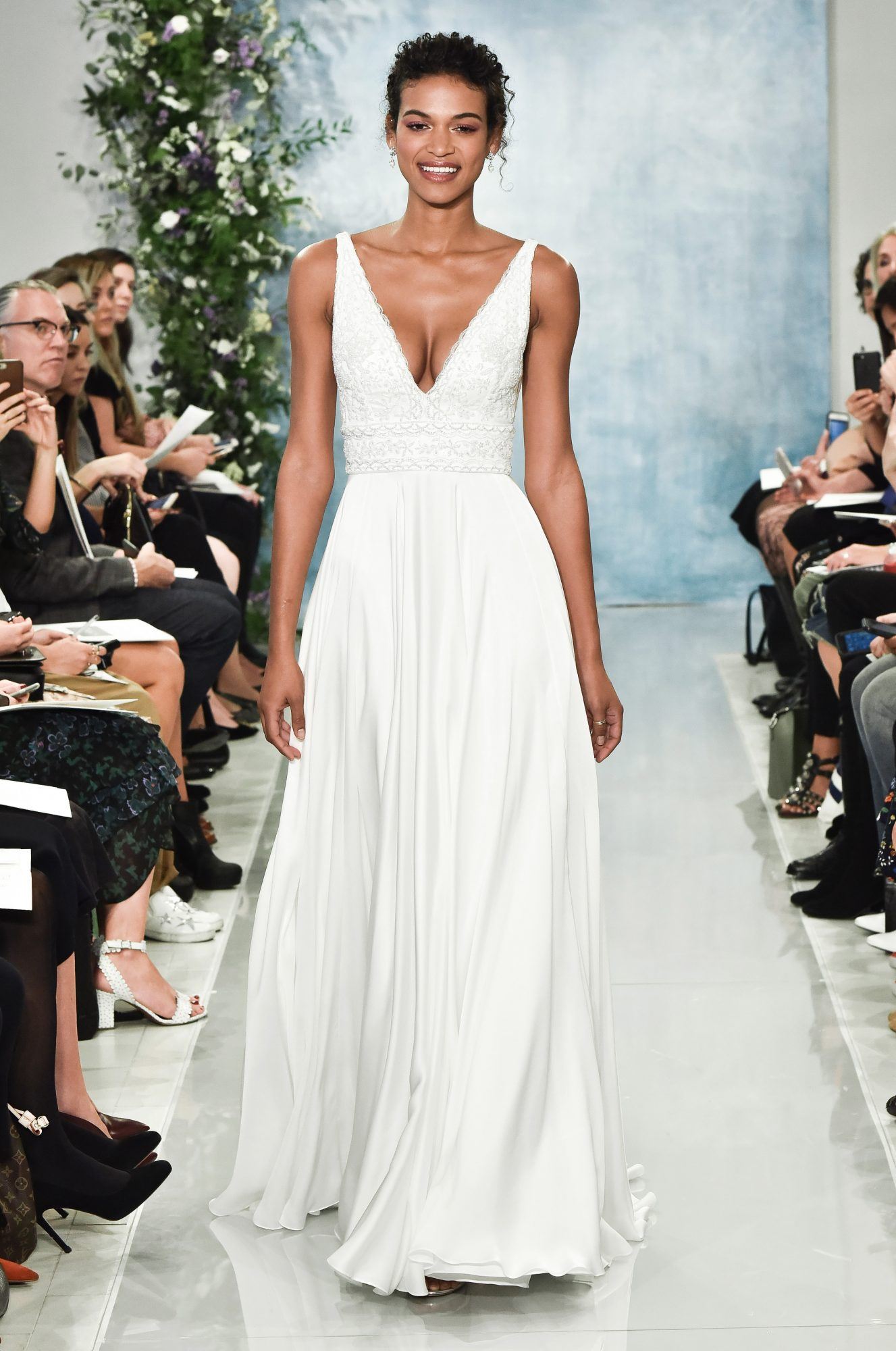 theia plunging neckline with straps wedding dress fall2018