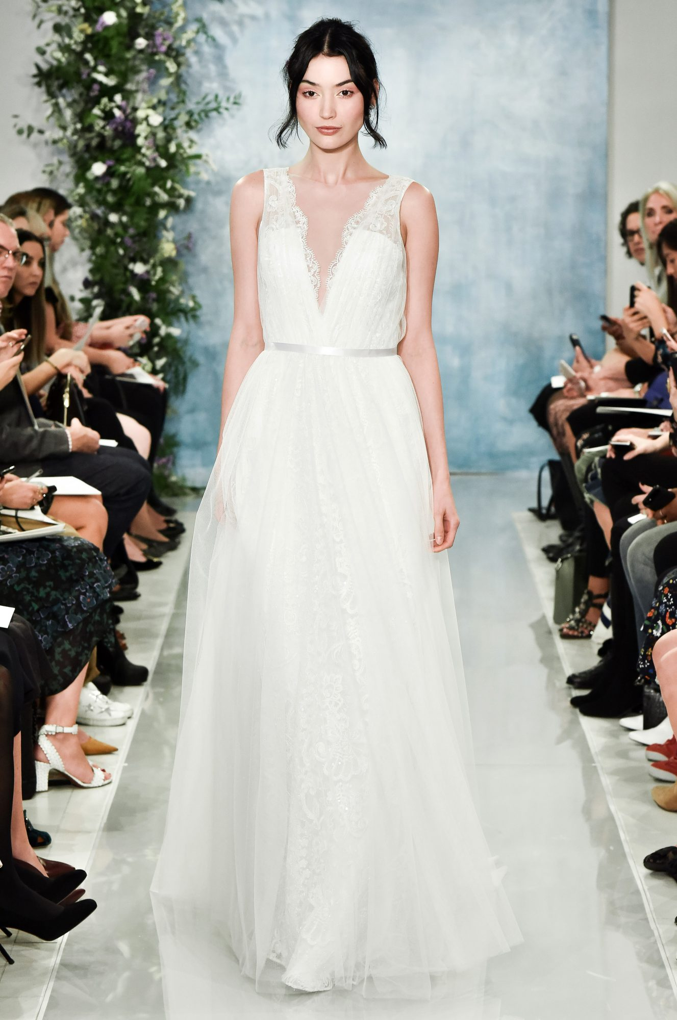 theia v-neck with lace wedding dress fall2018