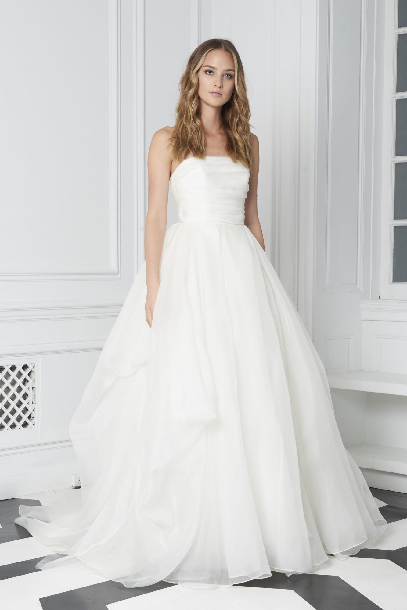 Monique Lhuillier Bliss Fall 2018 Strapless Ball Gown with Layered bodice