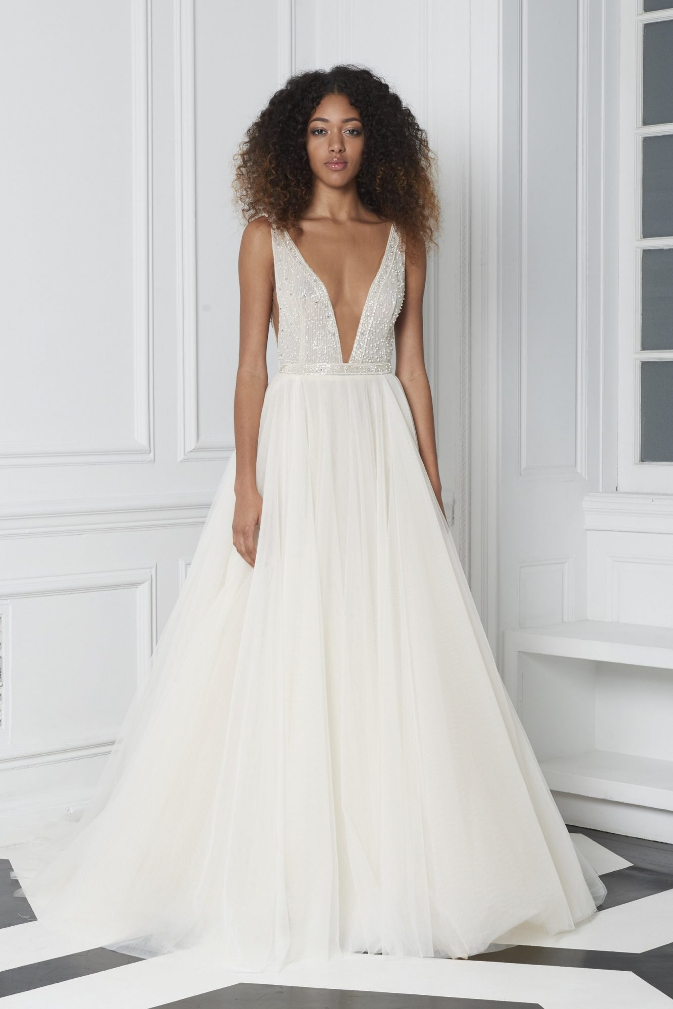 Monique Lhuillier Bliss Fall 2018 A-Line Wedding Dress with Plunging Neckline and Beaded Bodice