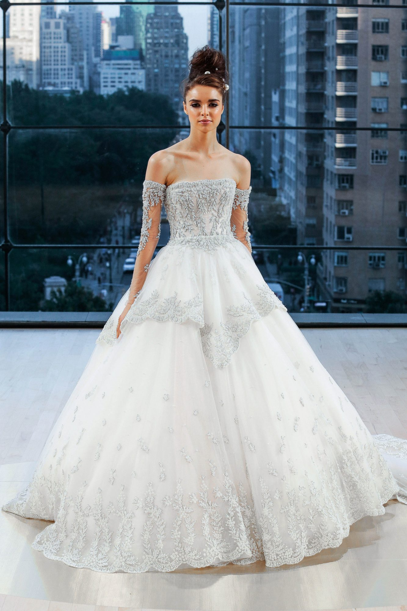ines di santo wedding dress fall 2018 off the shoulder embellished ball gown